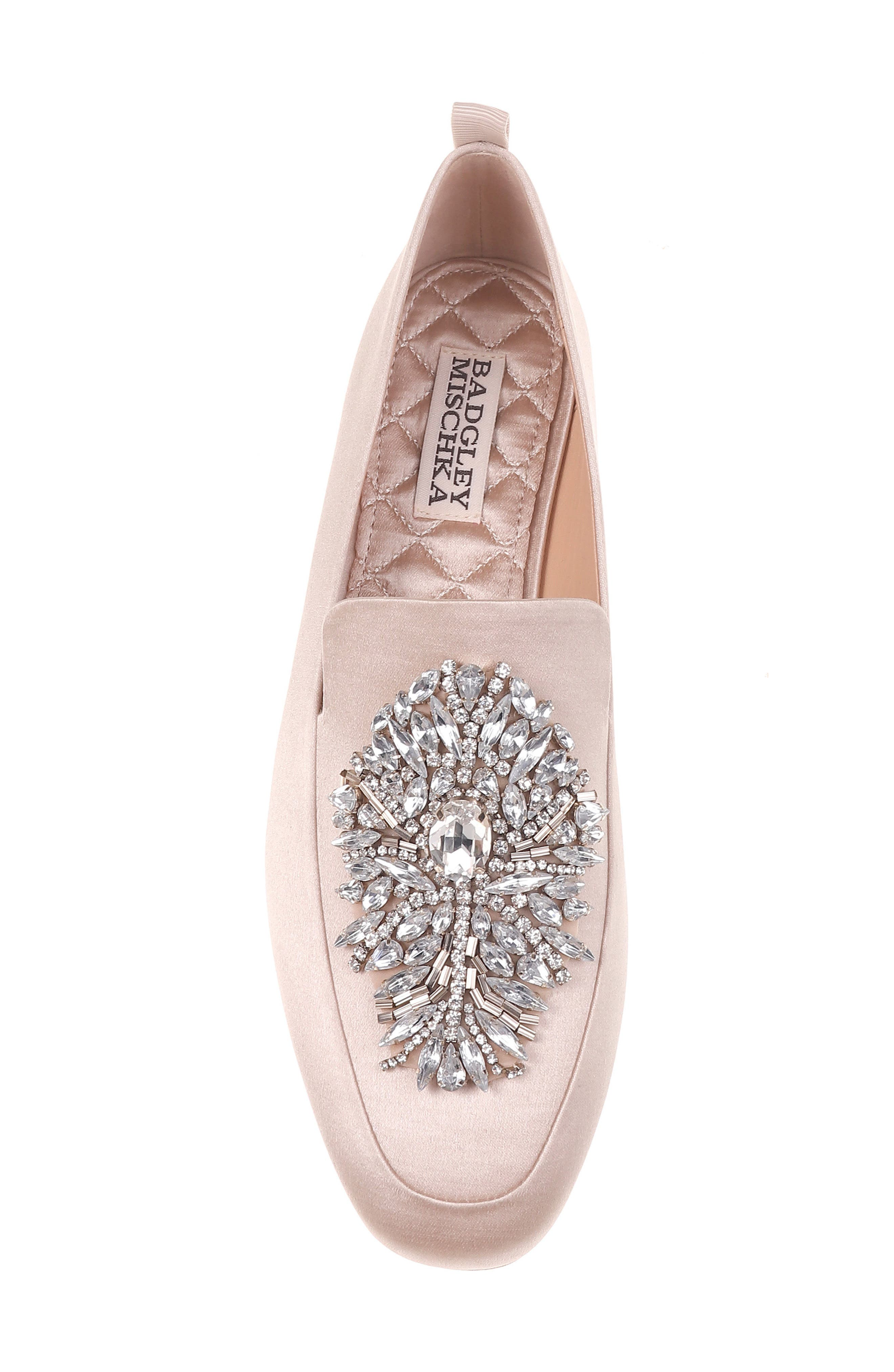 Salma Crystal Embellished Loafer,                             Alternate thumbnail 6, color,                             Nude Satin