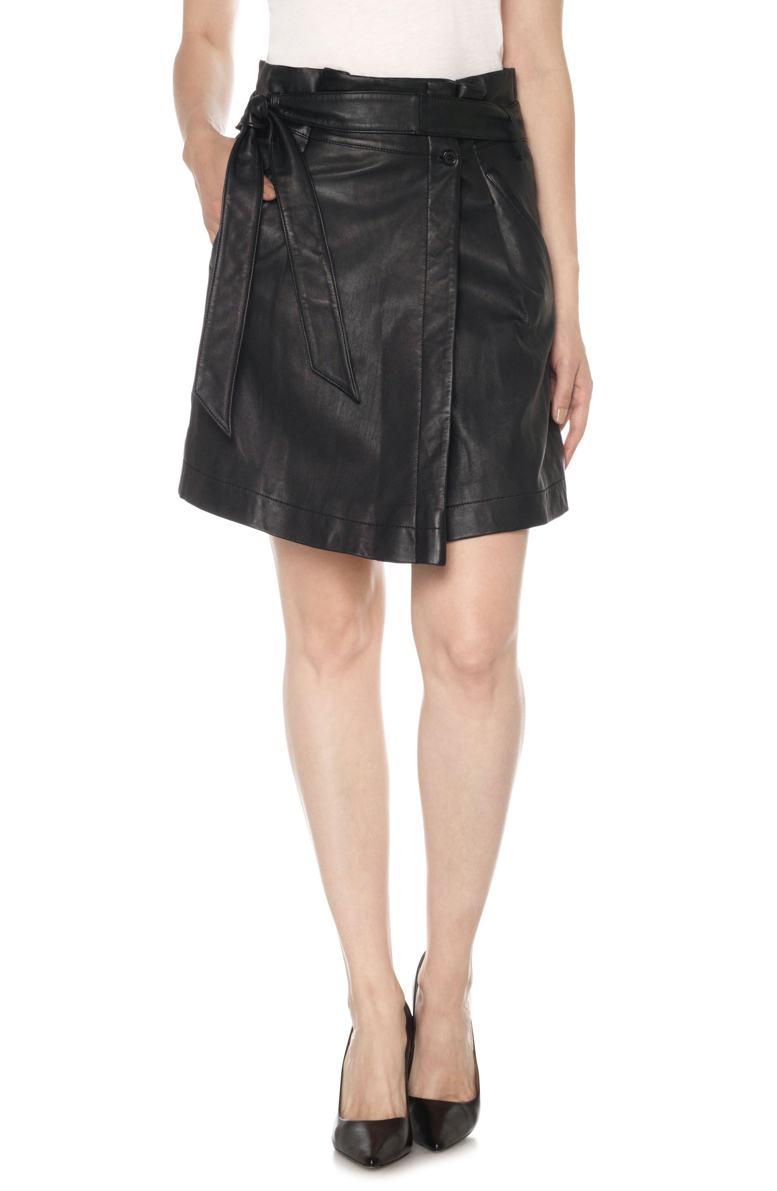 Tatum Paperbag Waist Leather Skirt,                         Main,                         color, Black