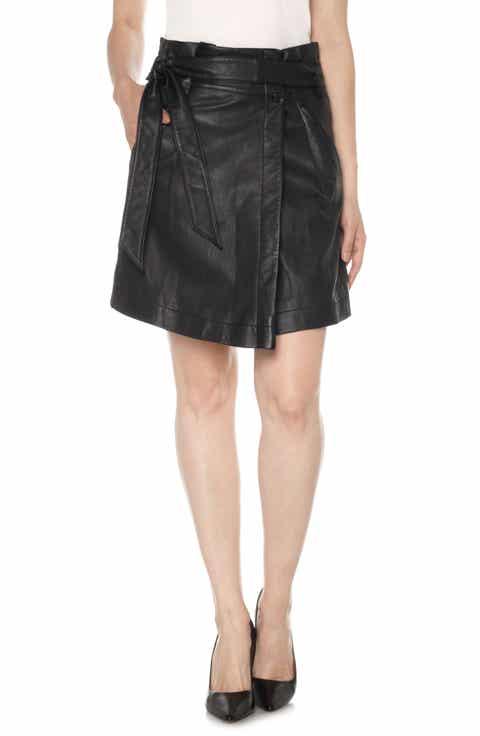 Joe's Tatum Paperbag Waist Leather Skirt
