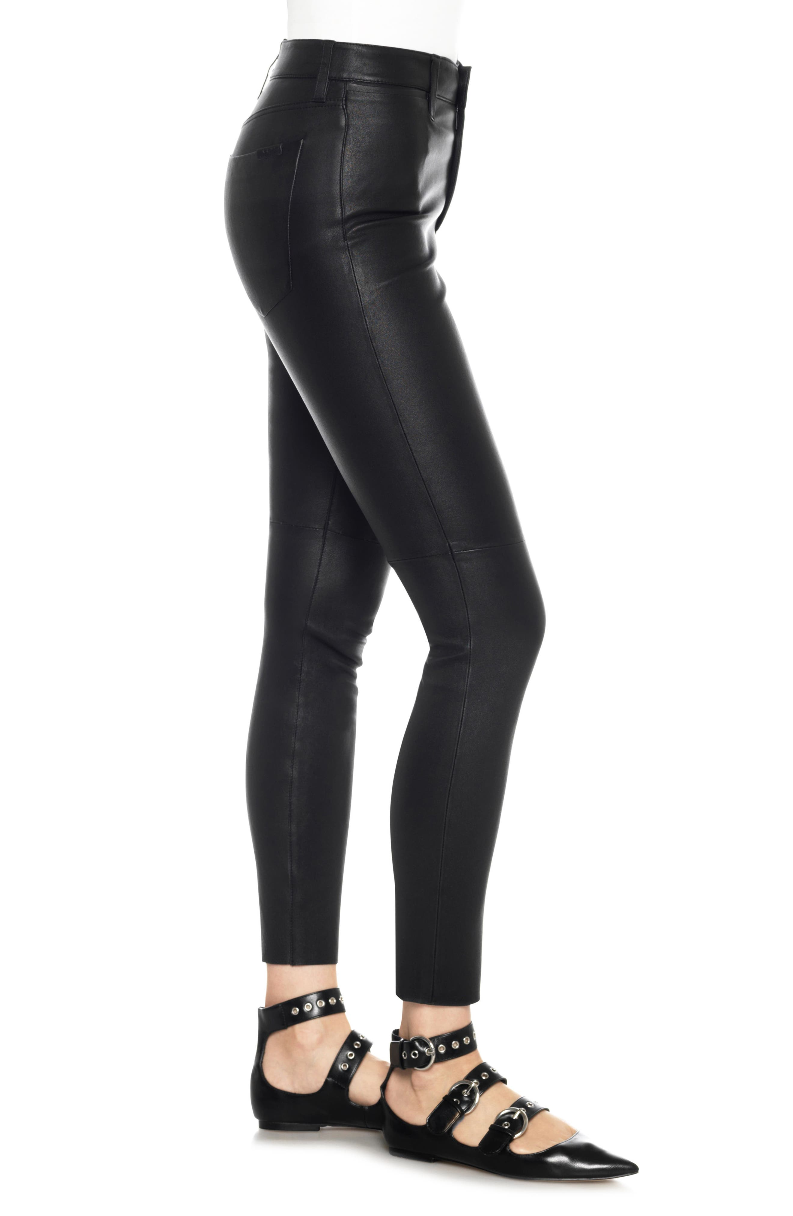 Charlie High Waist Ankle Skinny Leather Jeans,                             Alternate thumbnail 3, color,                             Veruca