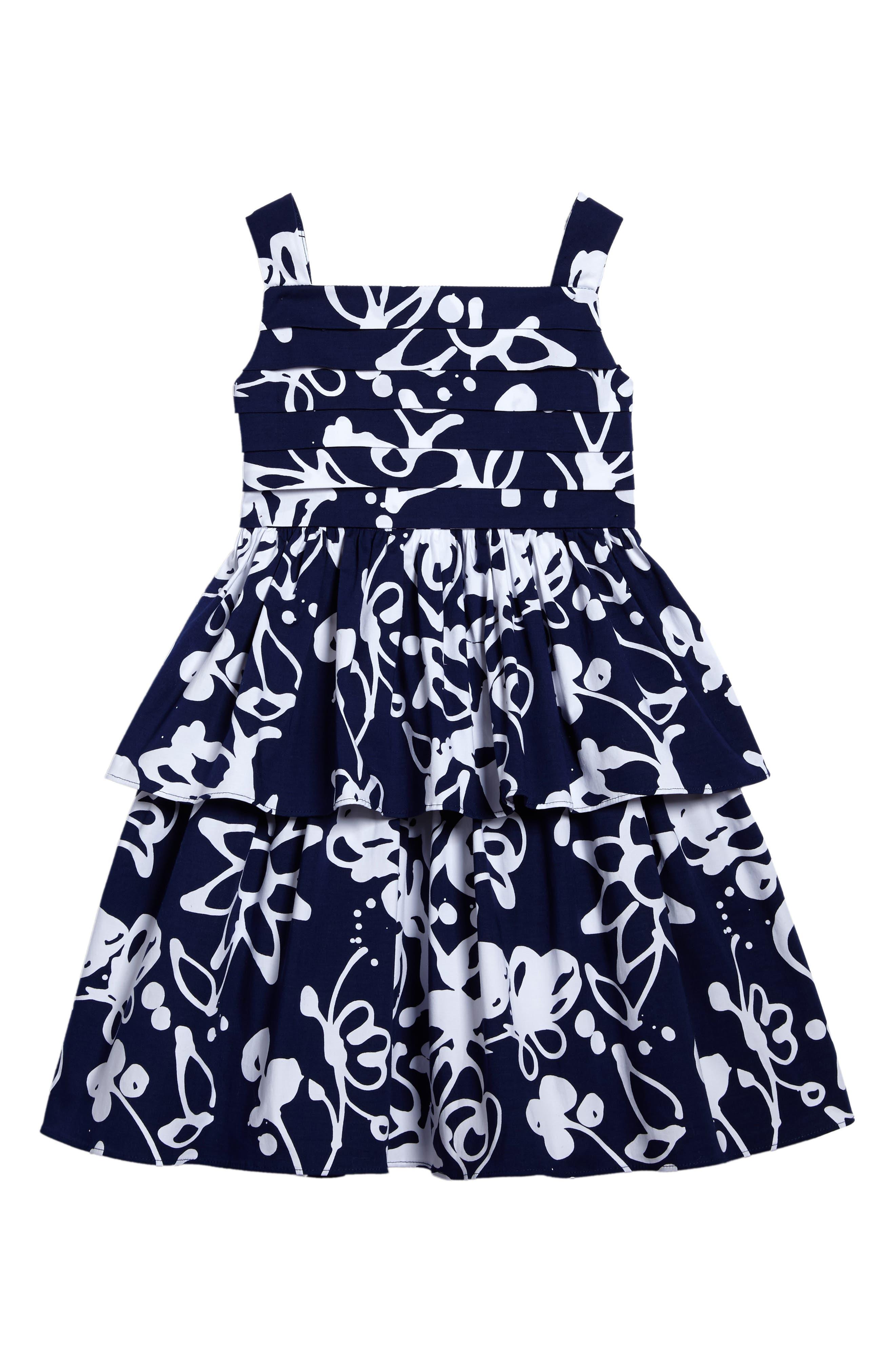 Main Image - Oscar de la Renta Scribbles Sleeveless Dress (Toddler Girls, Little Girls & Big Girls)