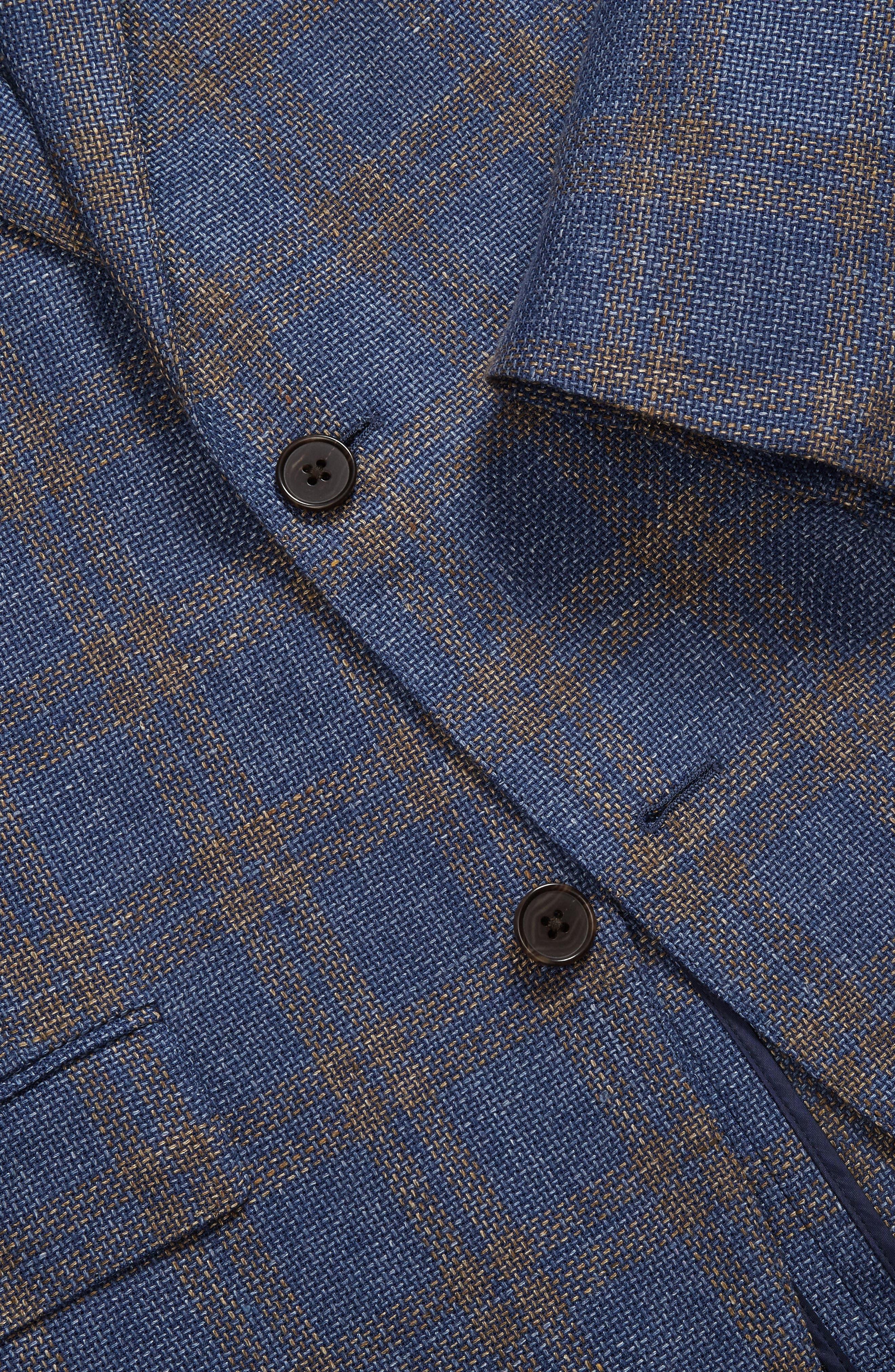 Slim Fit Plaid Linen Blend Unconstructed Blazer,                             Alternate thumbnail 4, color,                             Gold Blue Plaid