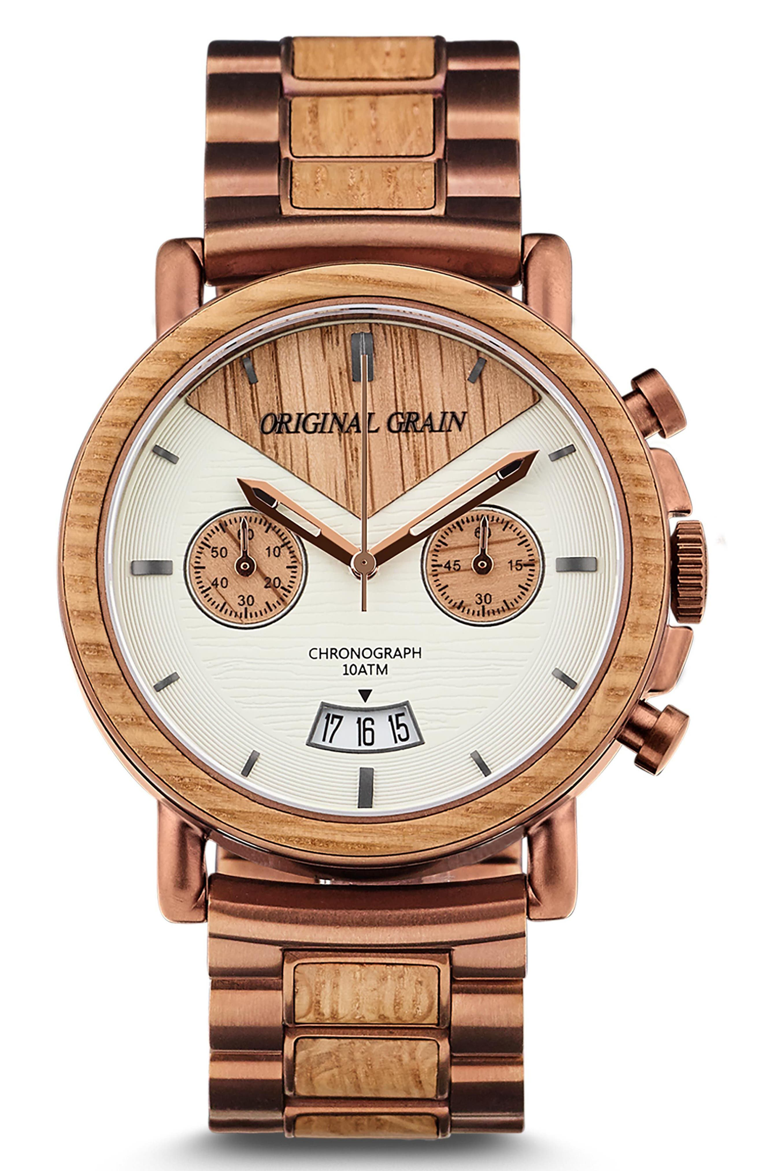 Alterra Chronograph Bracelet Watch, 44mm,                         Main,                         color, Whiskey Oak/ Espresso Steel