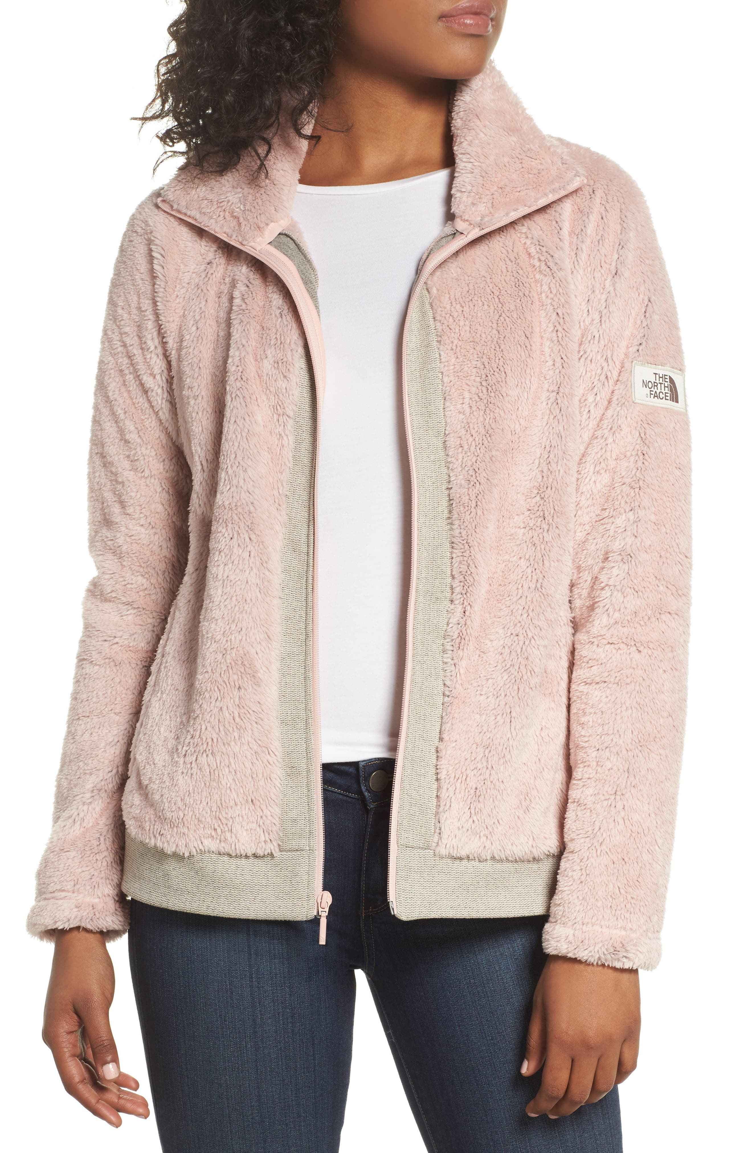 Furry Fleece Jacket,                         Main,                         color, Evening Sand Pink