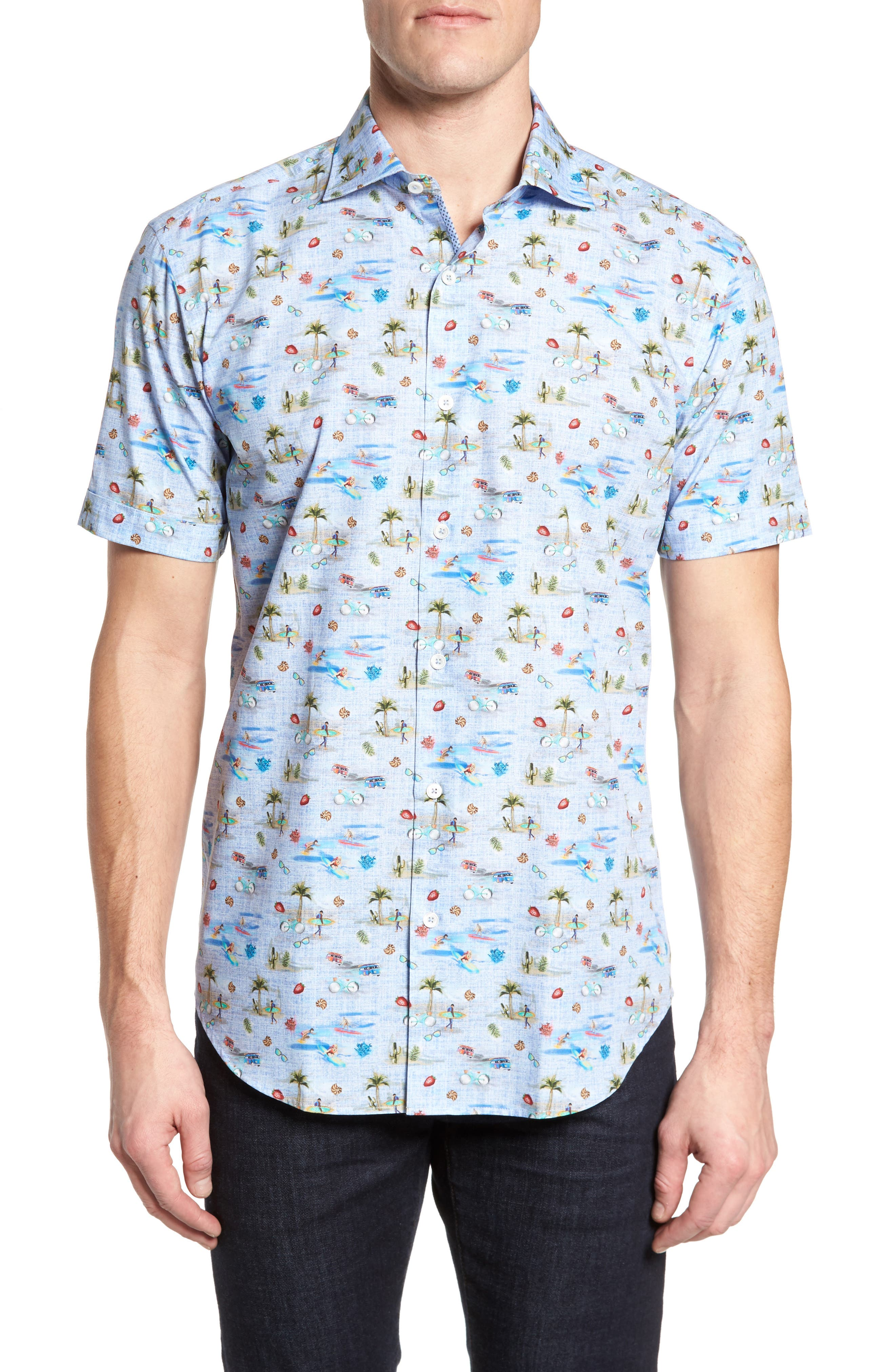 Buatchi Shaped Fit Print Sport Shirt,                         Main,                         color, Dusty Blue