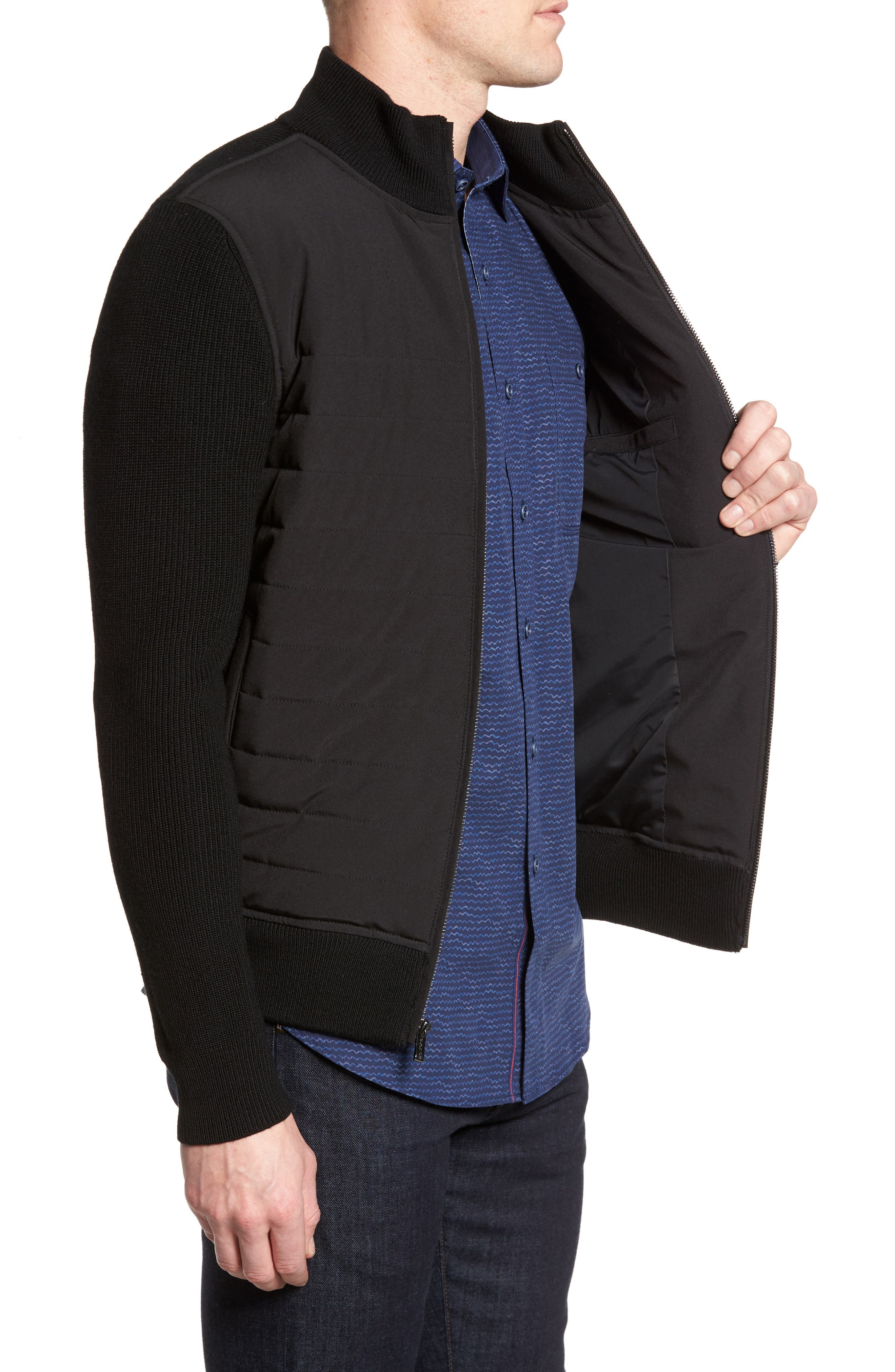 Quilted Front Wool Zip Front Sweater Jacket,                             Alternate thumbnail 3, color,                             Black