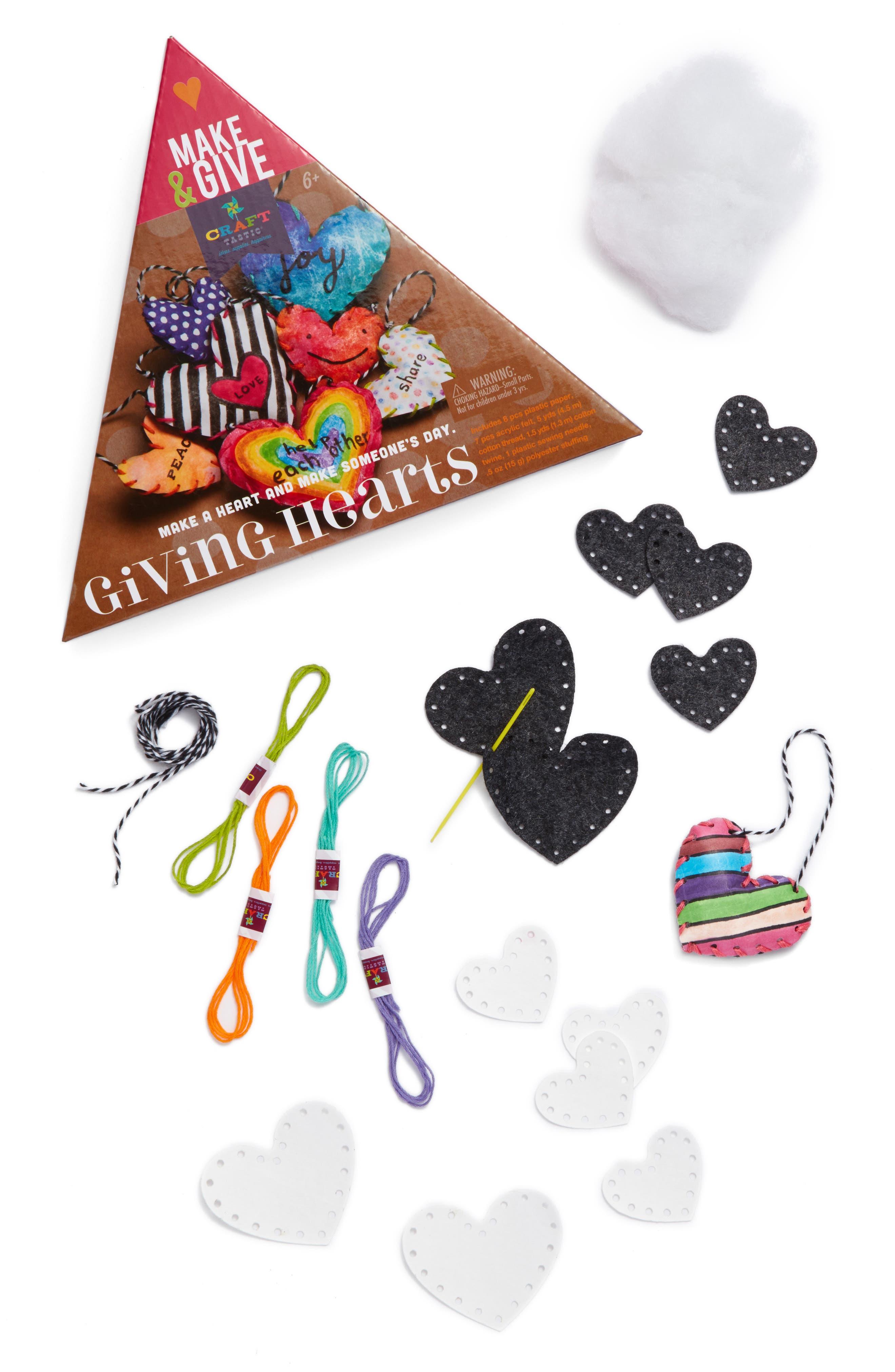Make & Give Giving Hearts Craft Kit,                             Main thumbnail 1, color,                             White