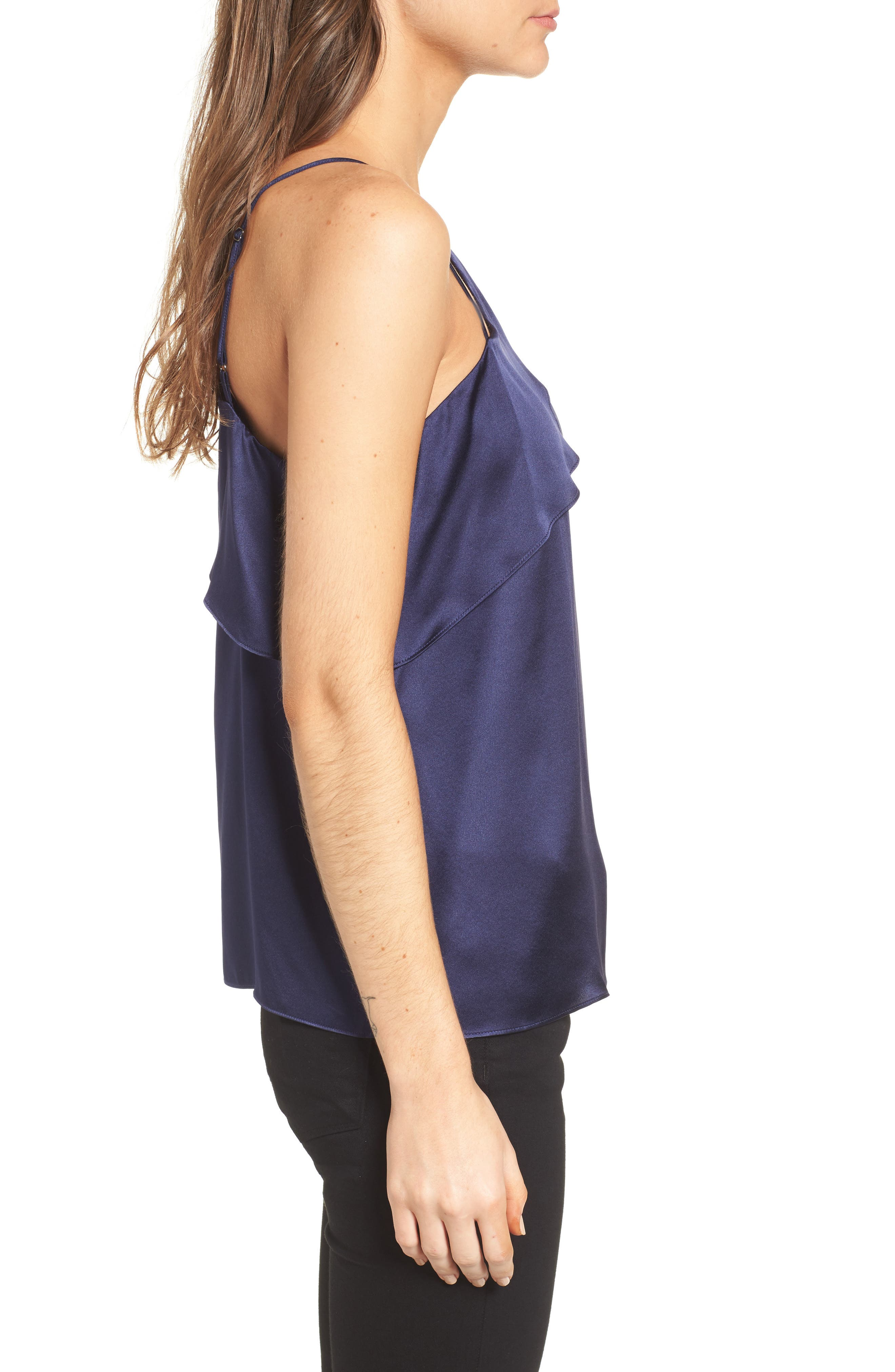 Connie Cold Shoulder Silk Top,                             Alternate thumbnail 3, color,                             Night