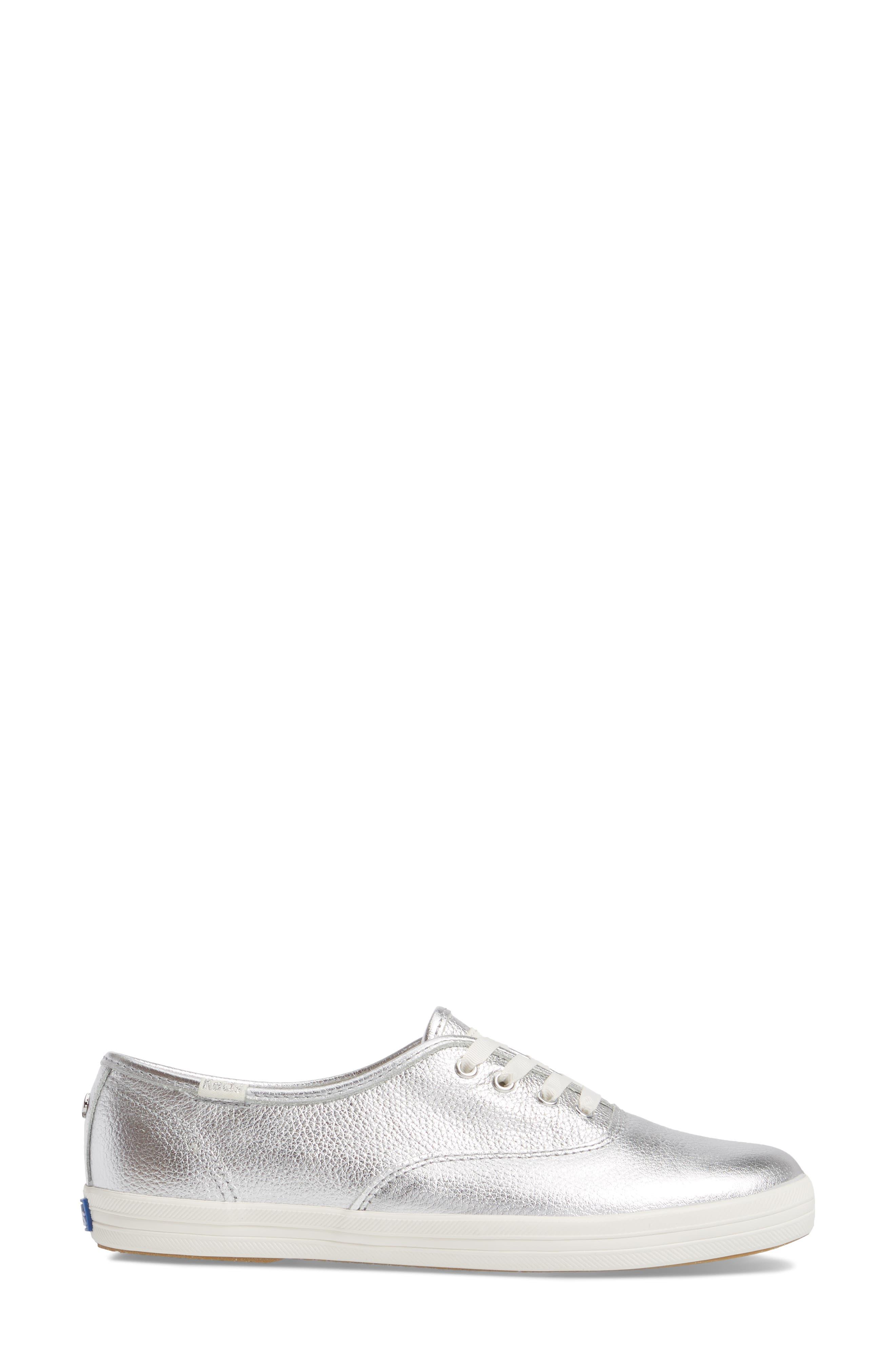 metallic sneaker,                             Alternate thumbnail 3, color,                             Silver Leather