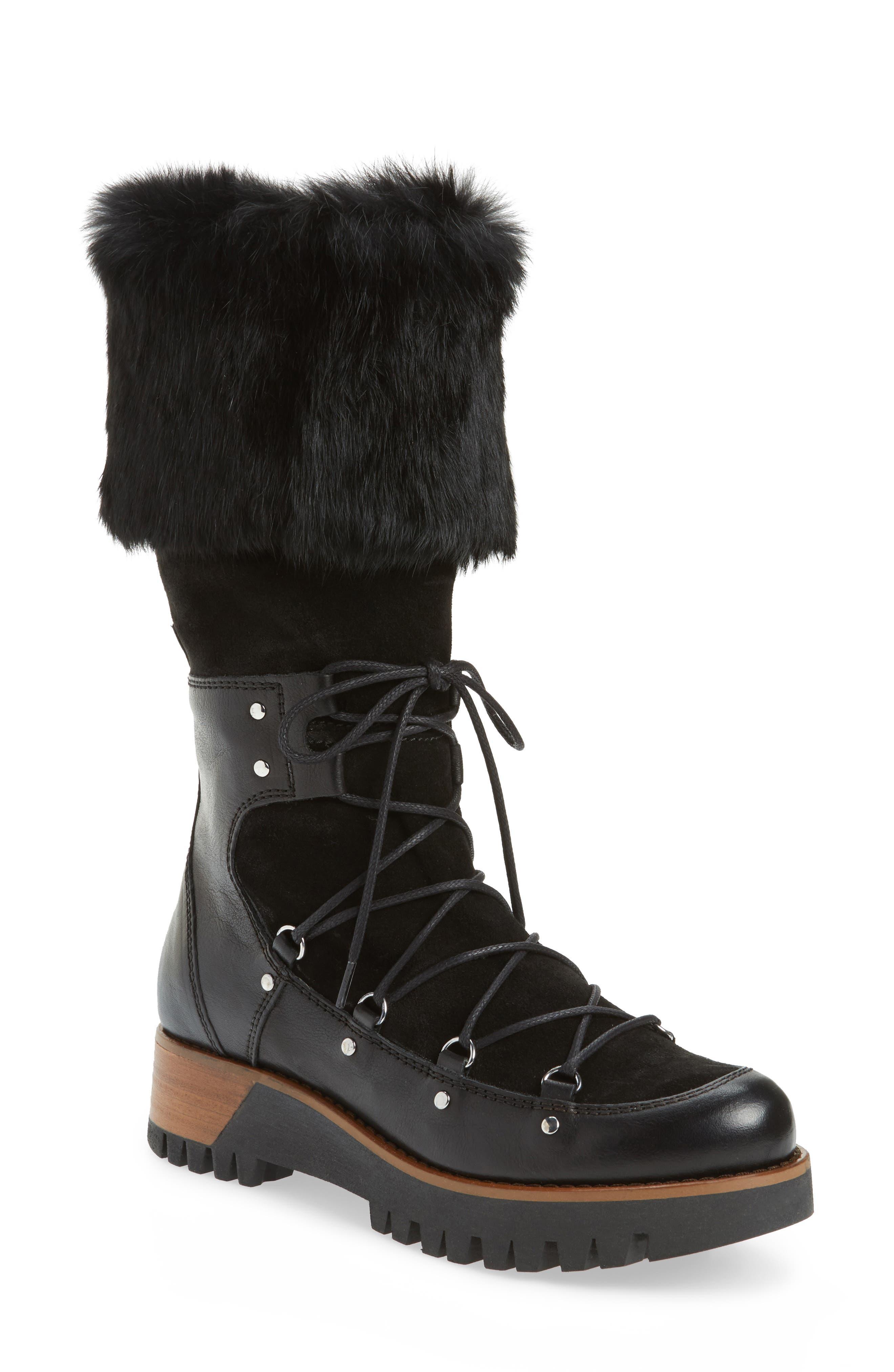 Tellurian Genuine Rabbit Fur Cuff Boot,                             Main thumbnail 1, color,                             Black Leather