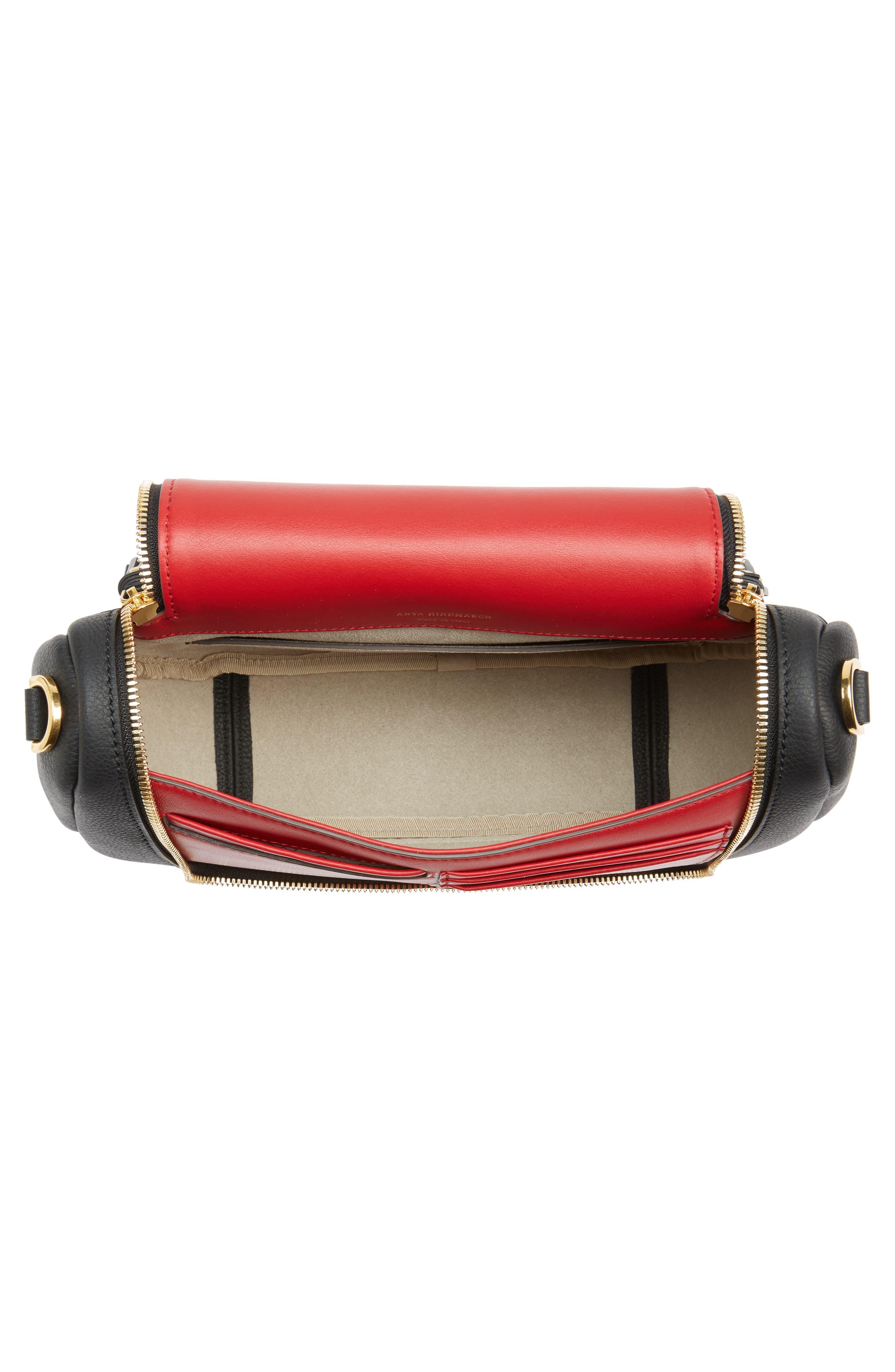 Mini Vere Soft Grained Leather Satchel,                             Alternate thumbnail 4, color,                             Black