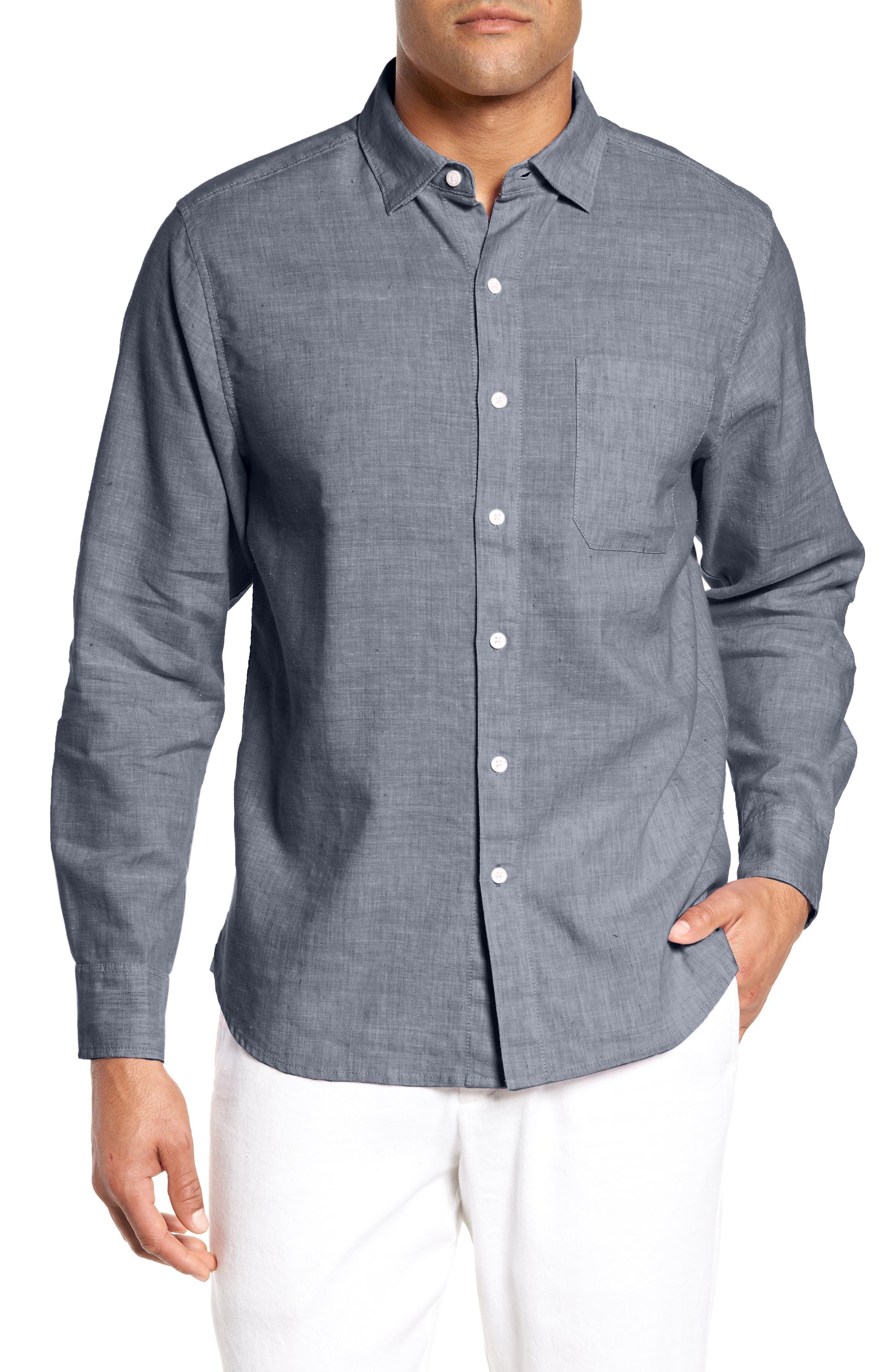 Lanai Tides Regular Fit Linen Blend Sport Shirt,                         Main,                         color, Throne Blue