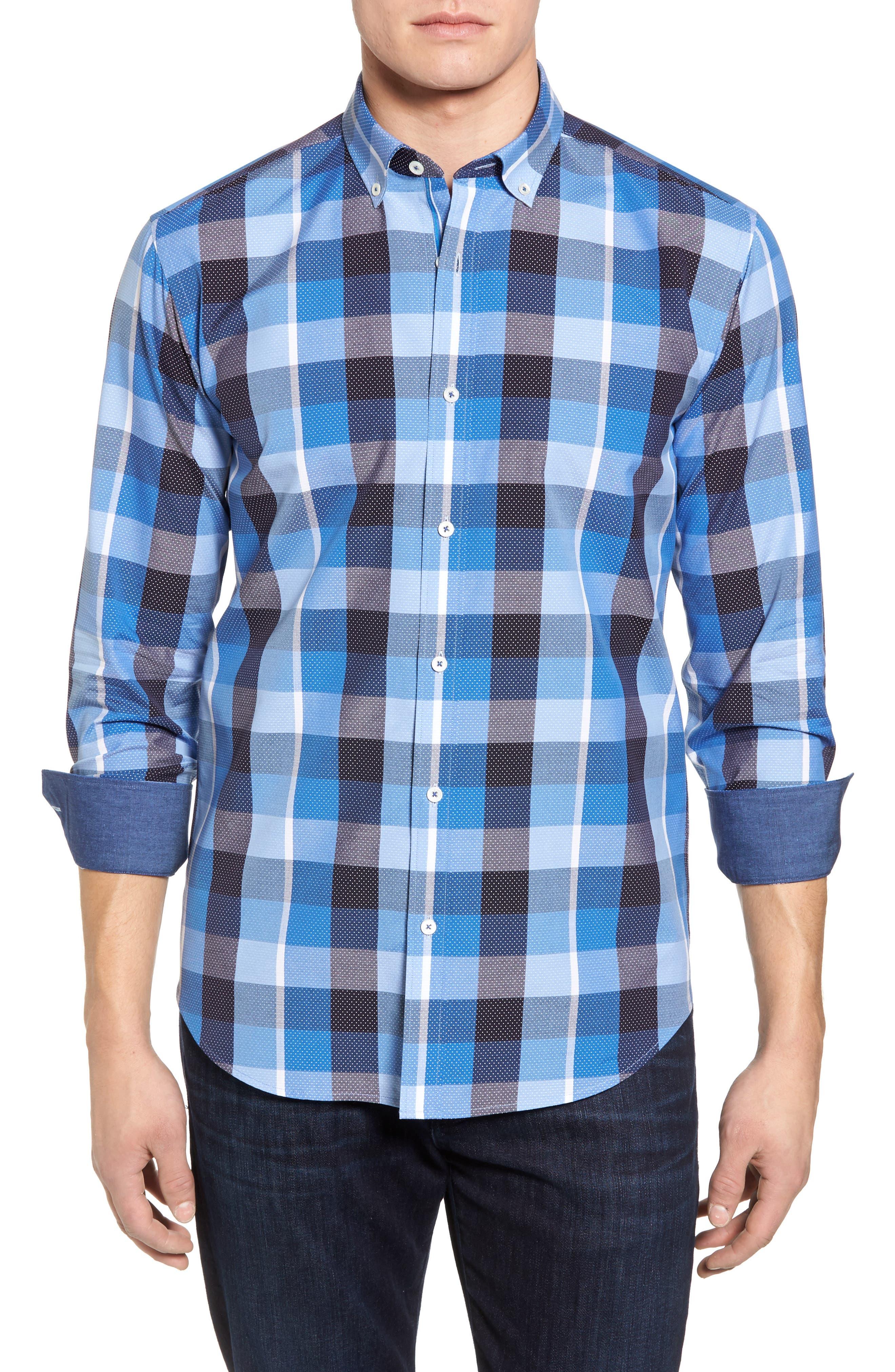 Shaped Fit Check Dot Sport Shirt,                             Main thumbnail 1, color,                             Classic Blue