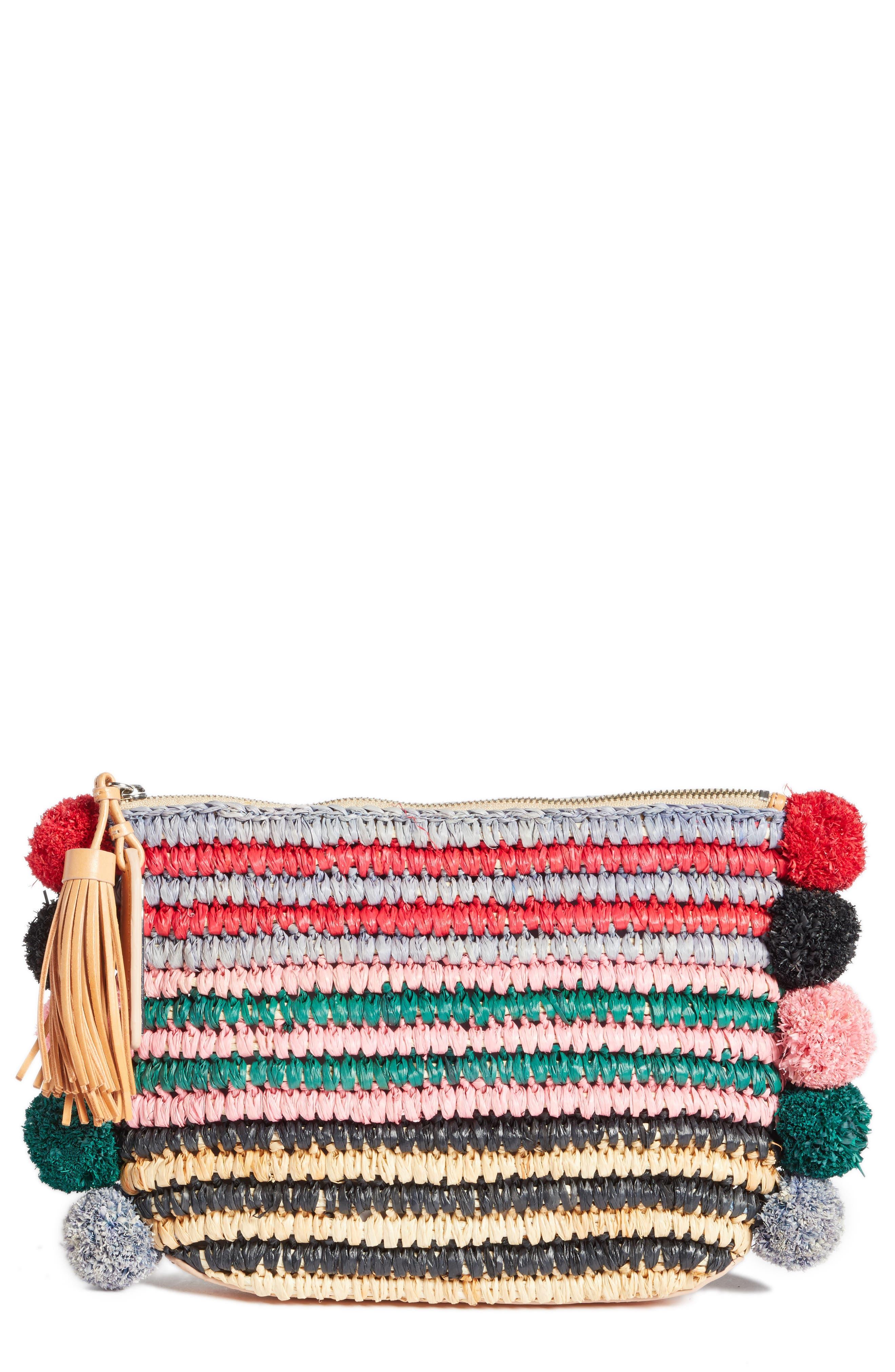 Straw Tassel Pouch,                         Main,                         color, Rainbow