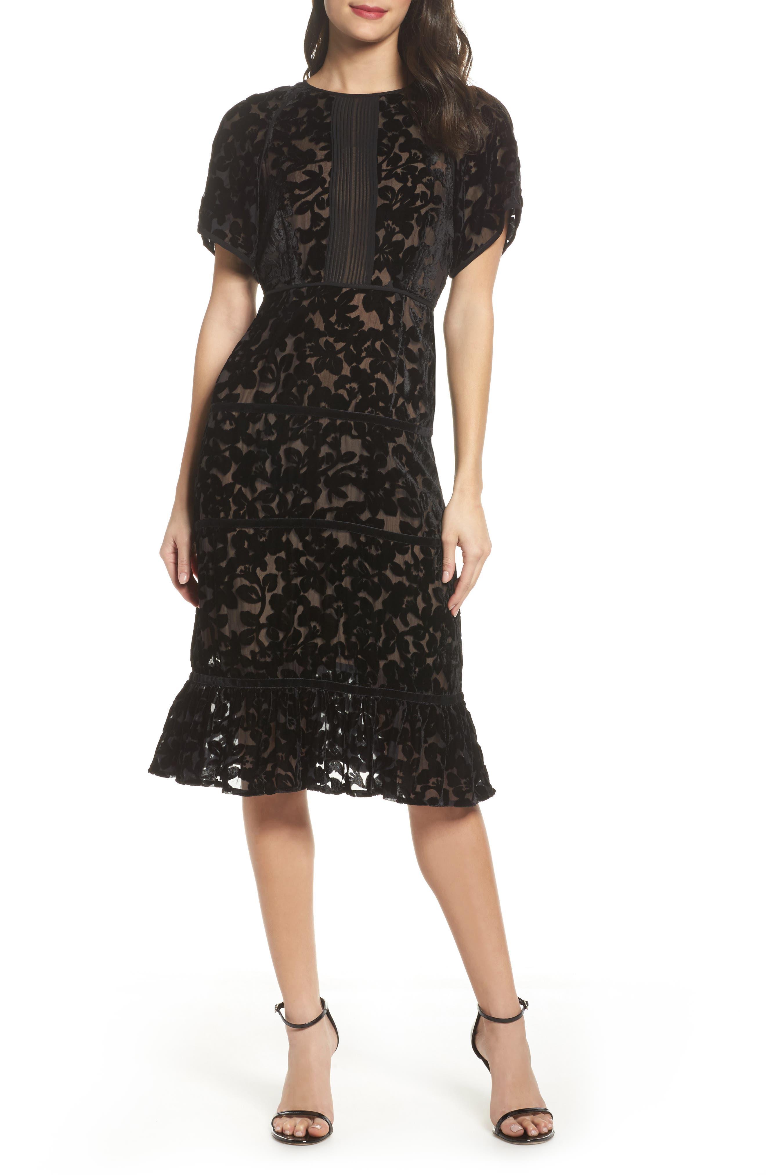 Ingrid Velvet Devoré Midi Dress,                             Main thumbnail 1, color,                             Black