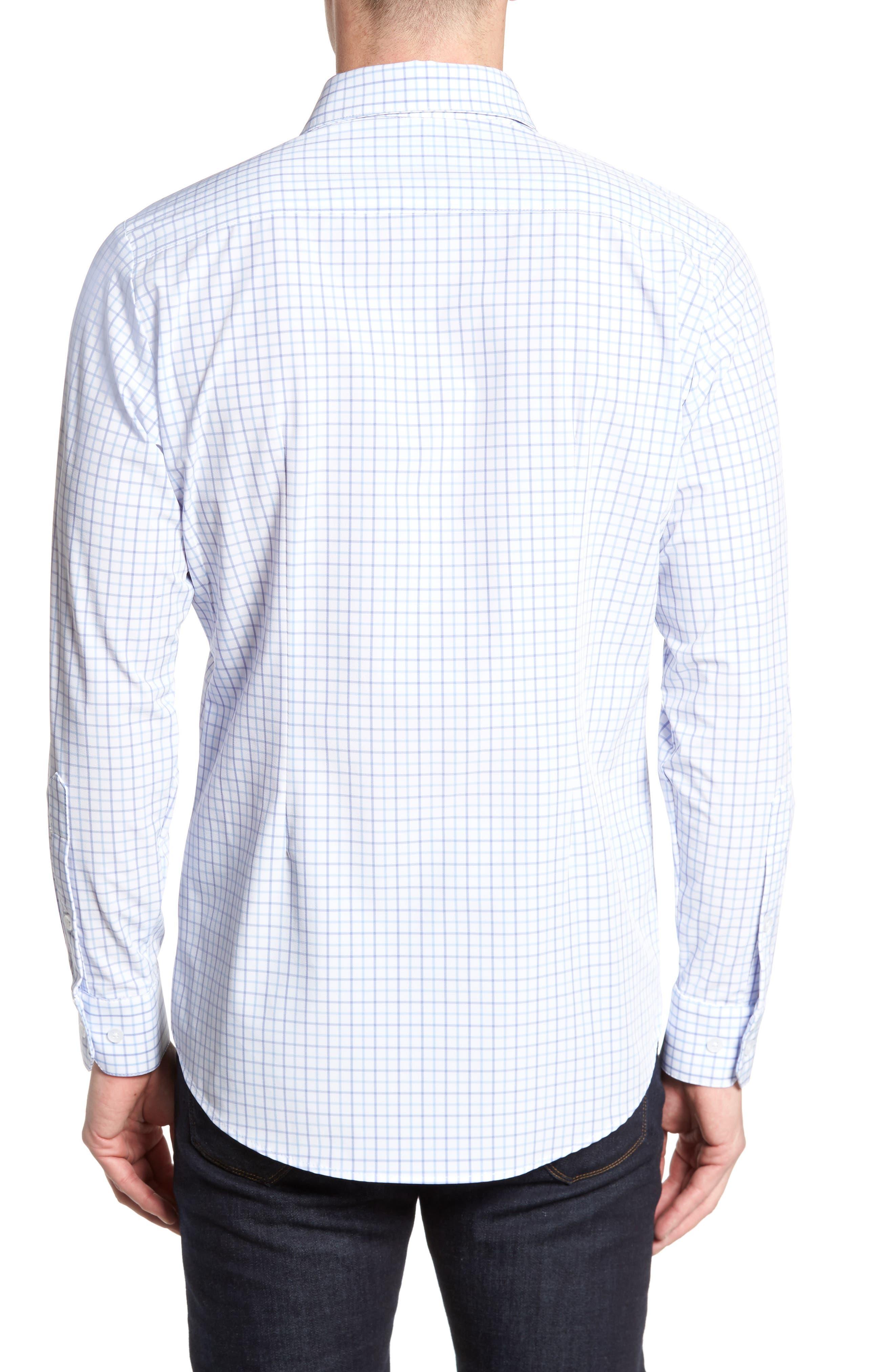 Hallandale Dusty Lavender Check Sport Shirt,                             Alternate thumbnail 3, color,                             White