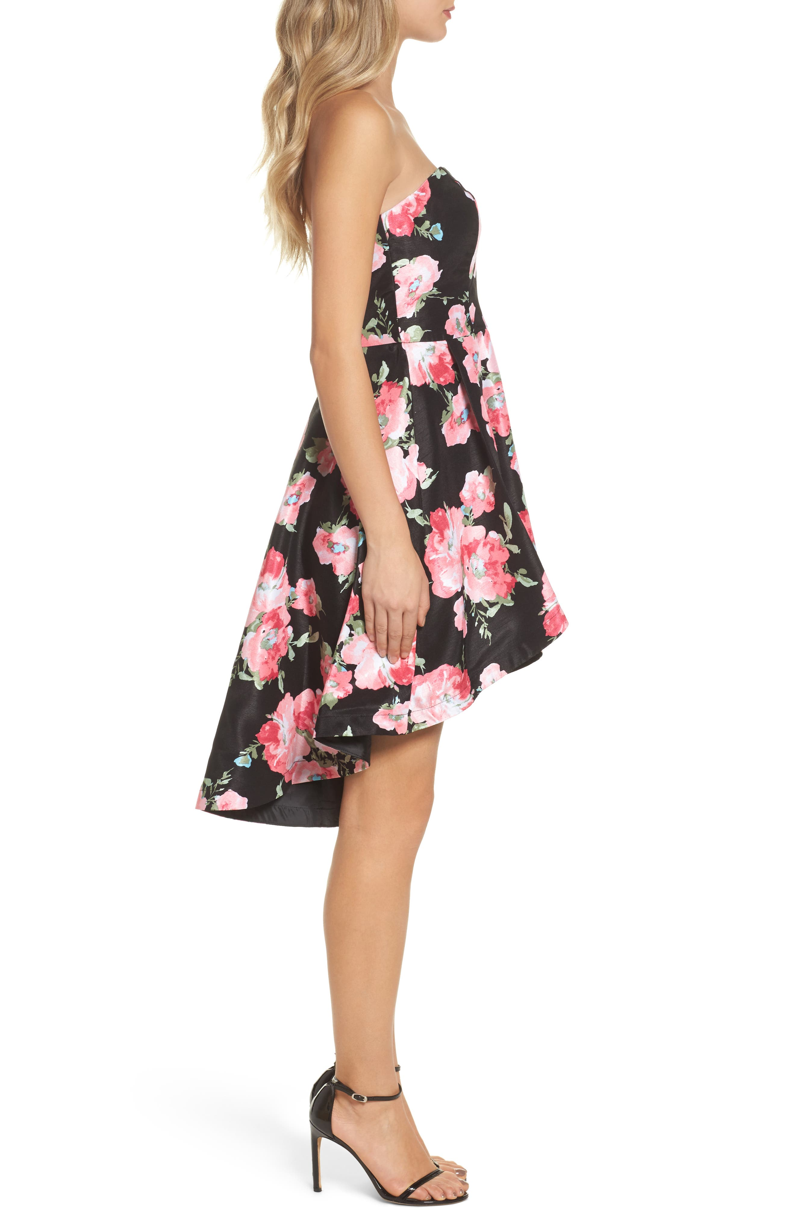 Floral High/Low Strapless Dress,                             Alternate thumbnail 3, color,                             Black/ Rose