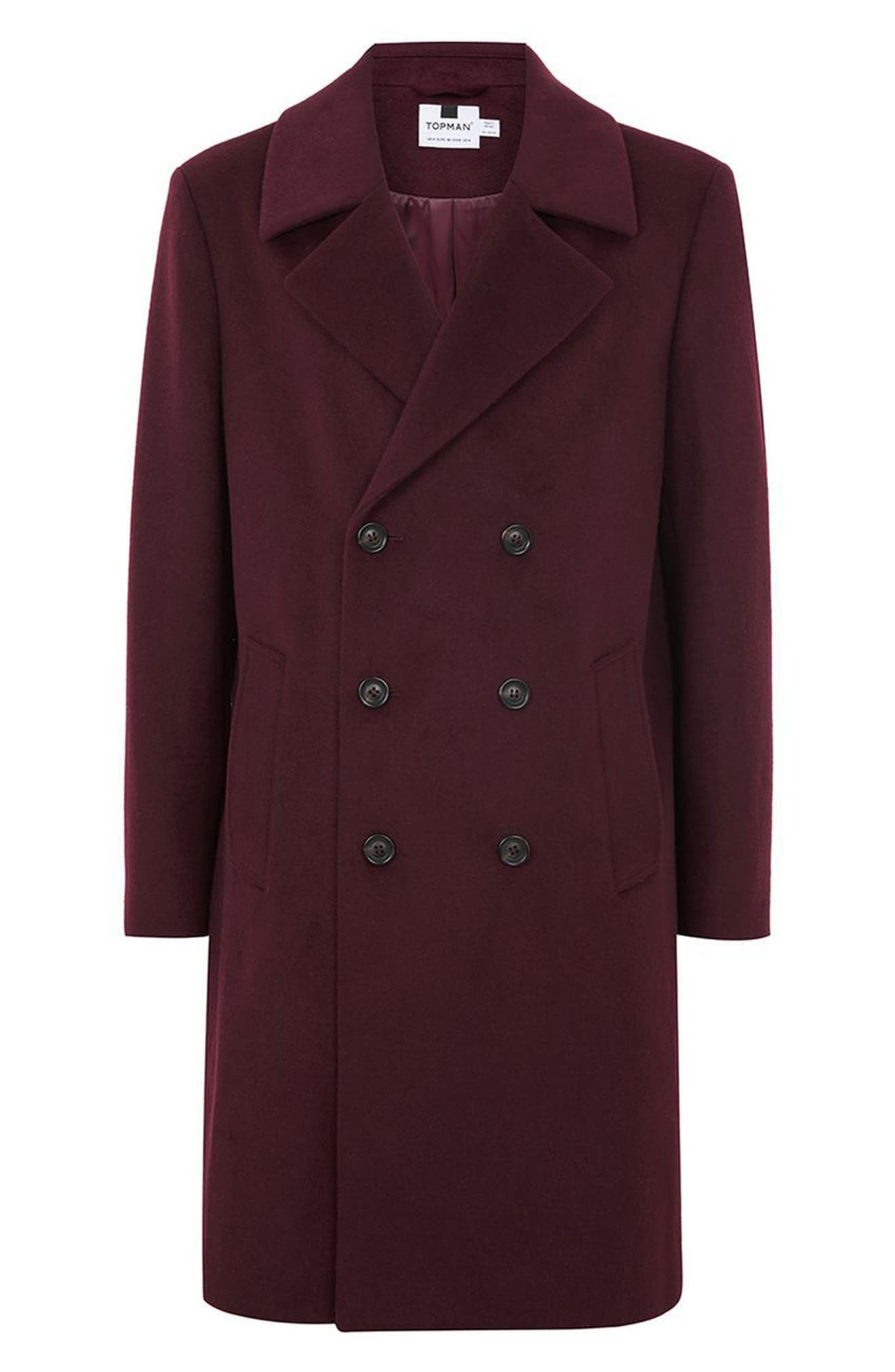 Oversize Double Breated Coat,                             Alternate thumbnail 4, color,                             Burgundy