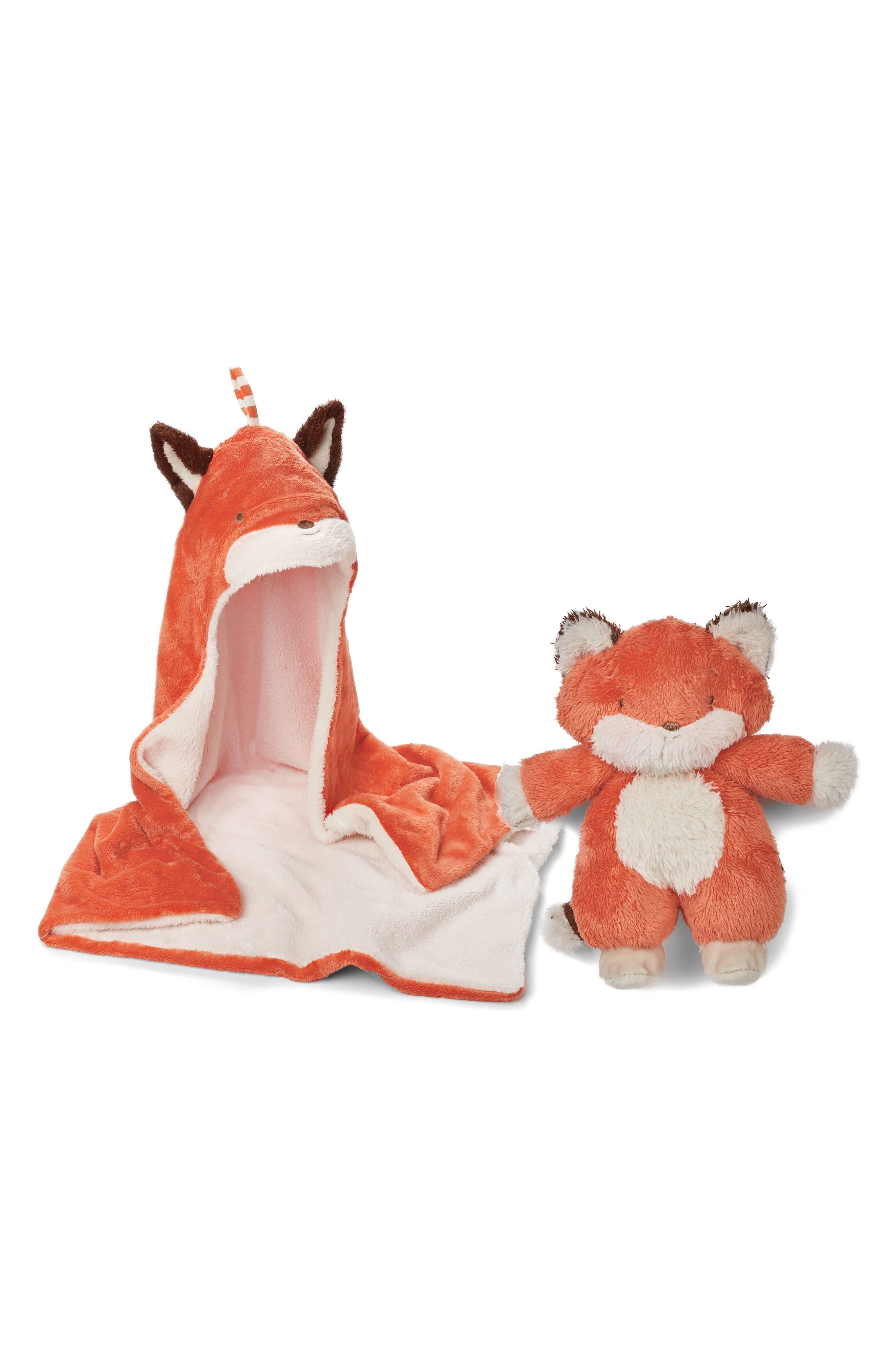 Blanket & Stuffed Animal Set,                         Main,                         color, Foxy Orange