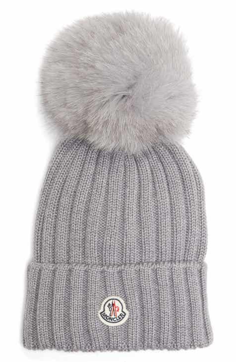 bec4944f7db Moncler Genuine Fox Fur Pom Wool Beanie