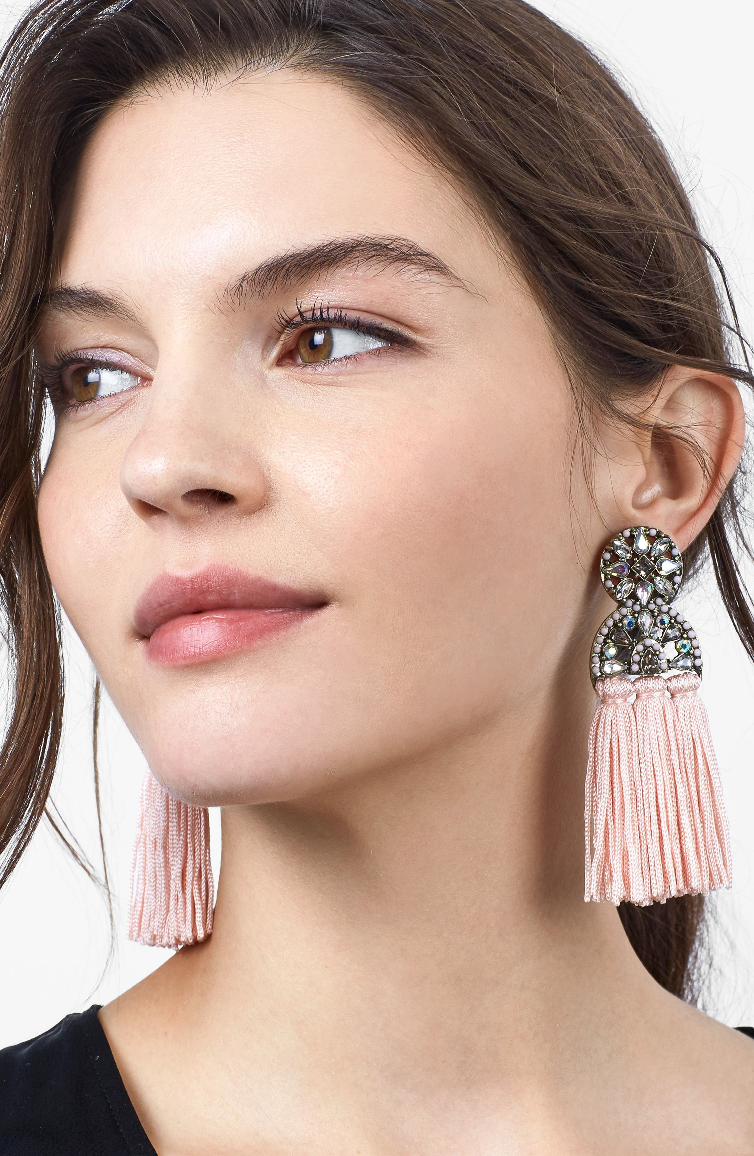 Pisa Tassel Drop Earrings,                             Alternate thumbnail 2, color,                             Blush