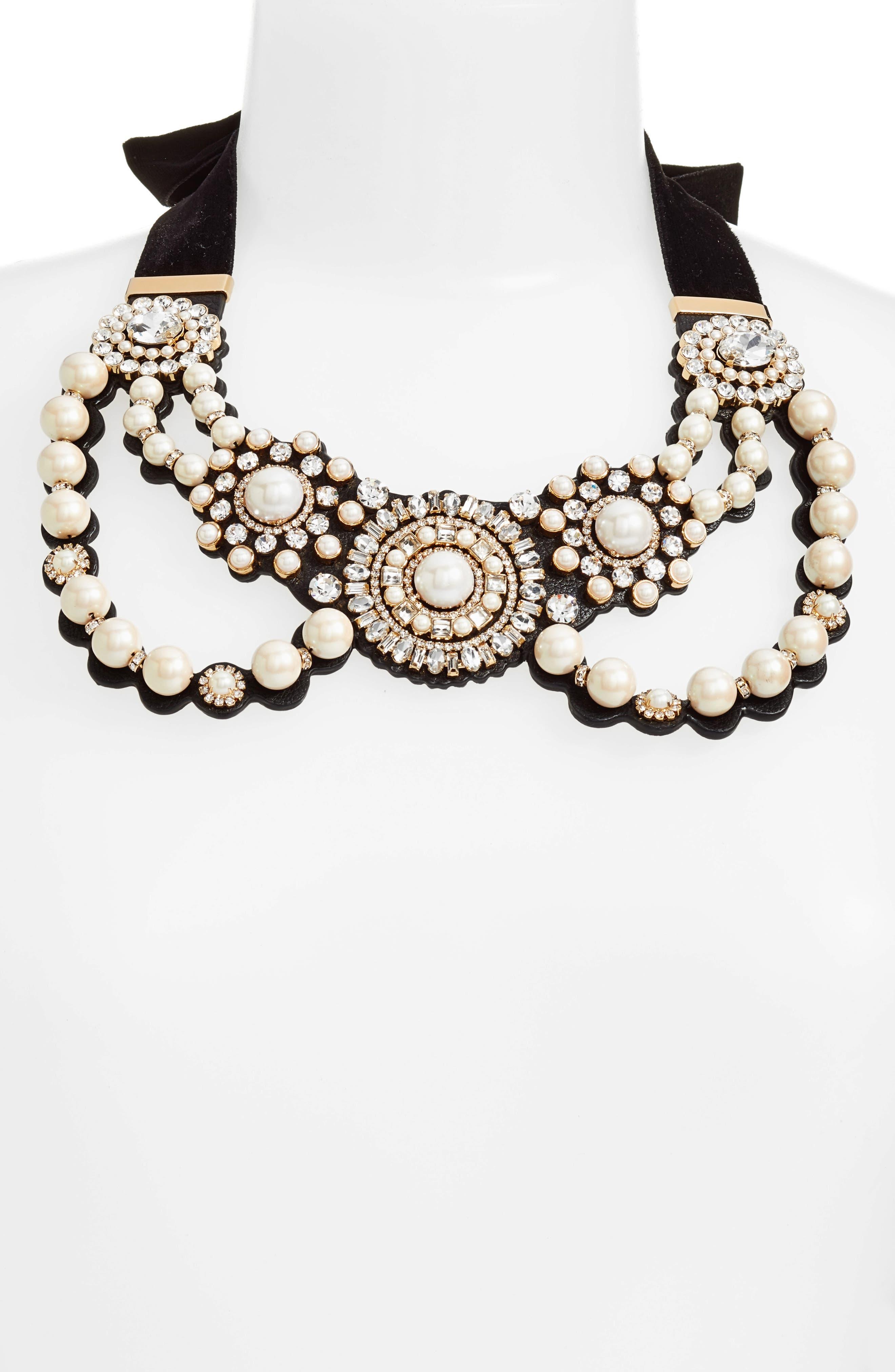 luminous imitation pearl bib necklace,                         Main,                         color, Cream Multi