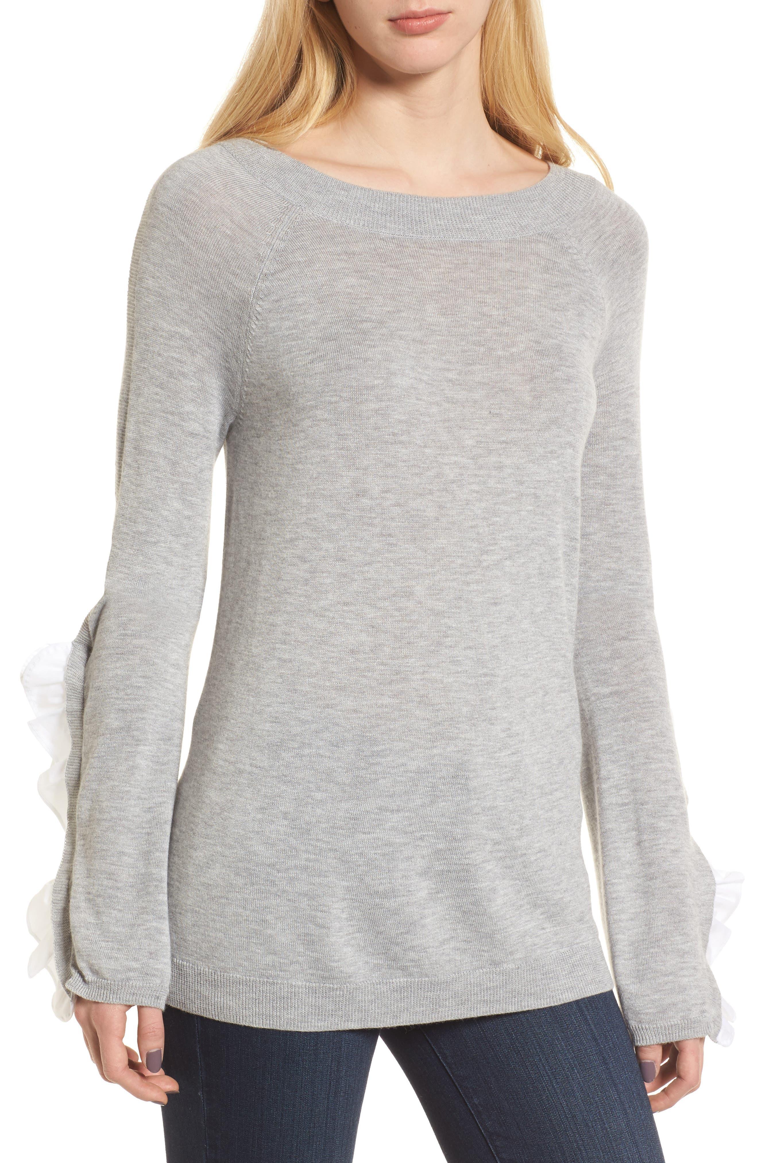 Ruffle Sleeve Sweater,                             Main thumbnail 1, color,                             Grey Heather