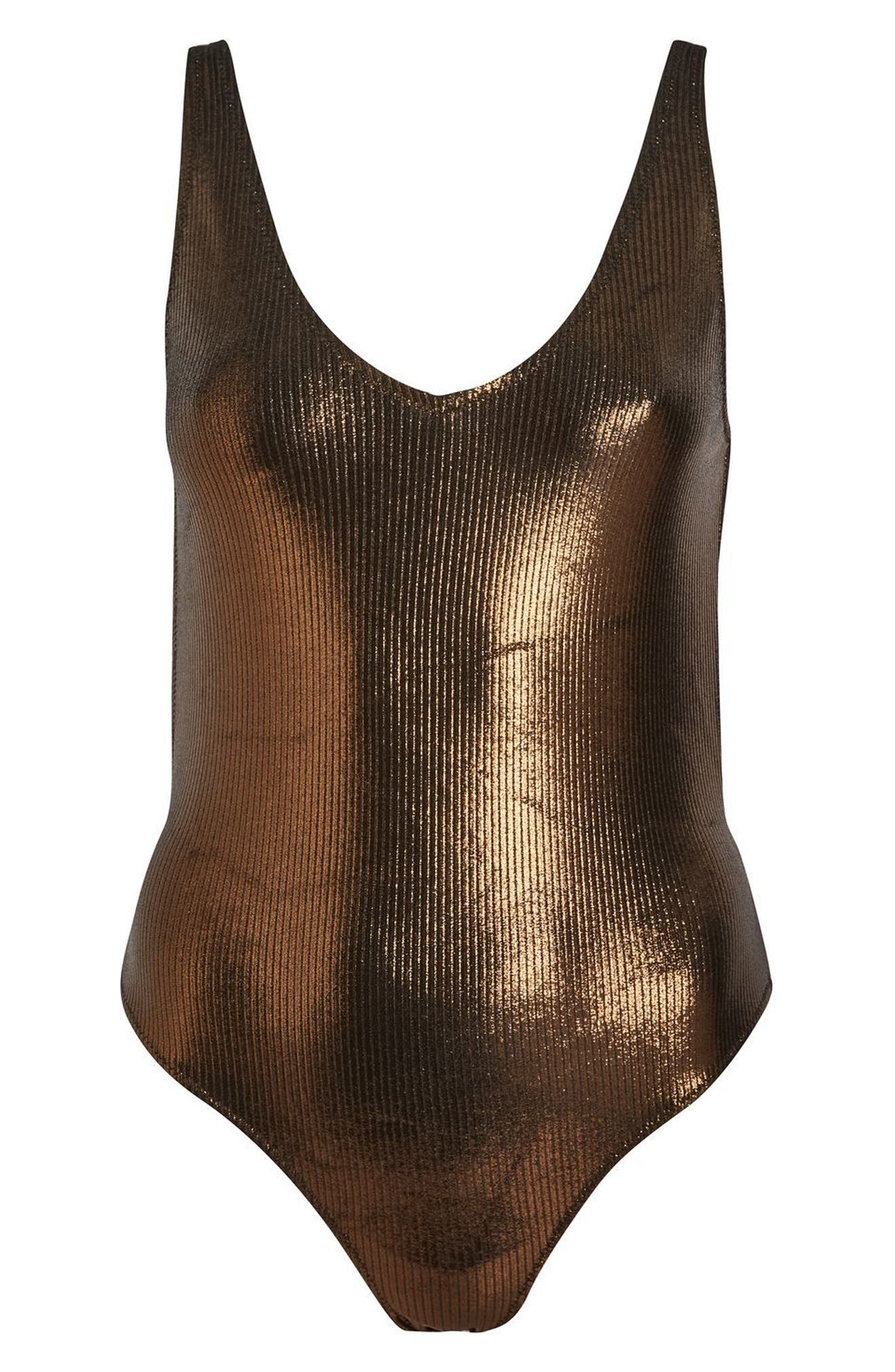 Alternate Image 3  - Topshop Metallic Ribbed One-Piece Swimsuit