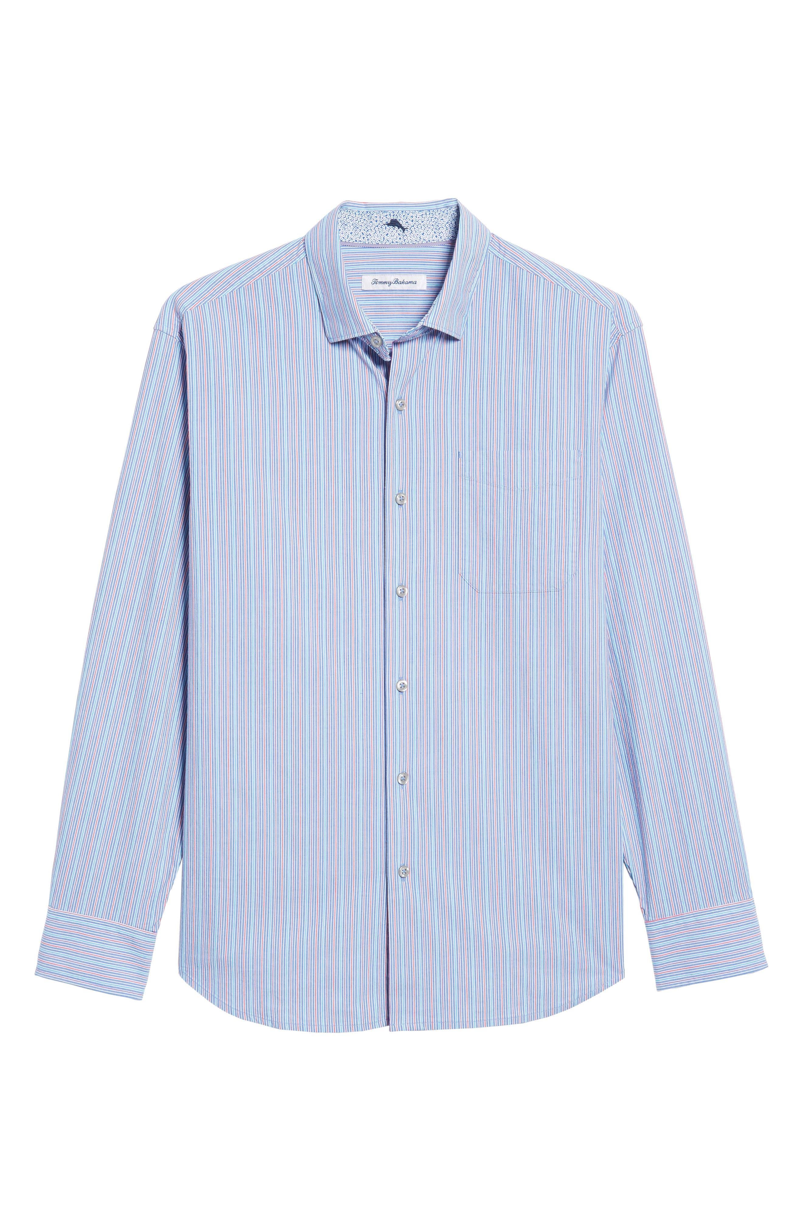 Tallahassee Cotton & Silk Blend Sport Shirt,                             Alternate thumbnail 6, color,                             Cobalt Sea