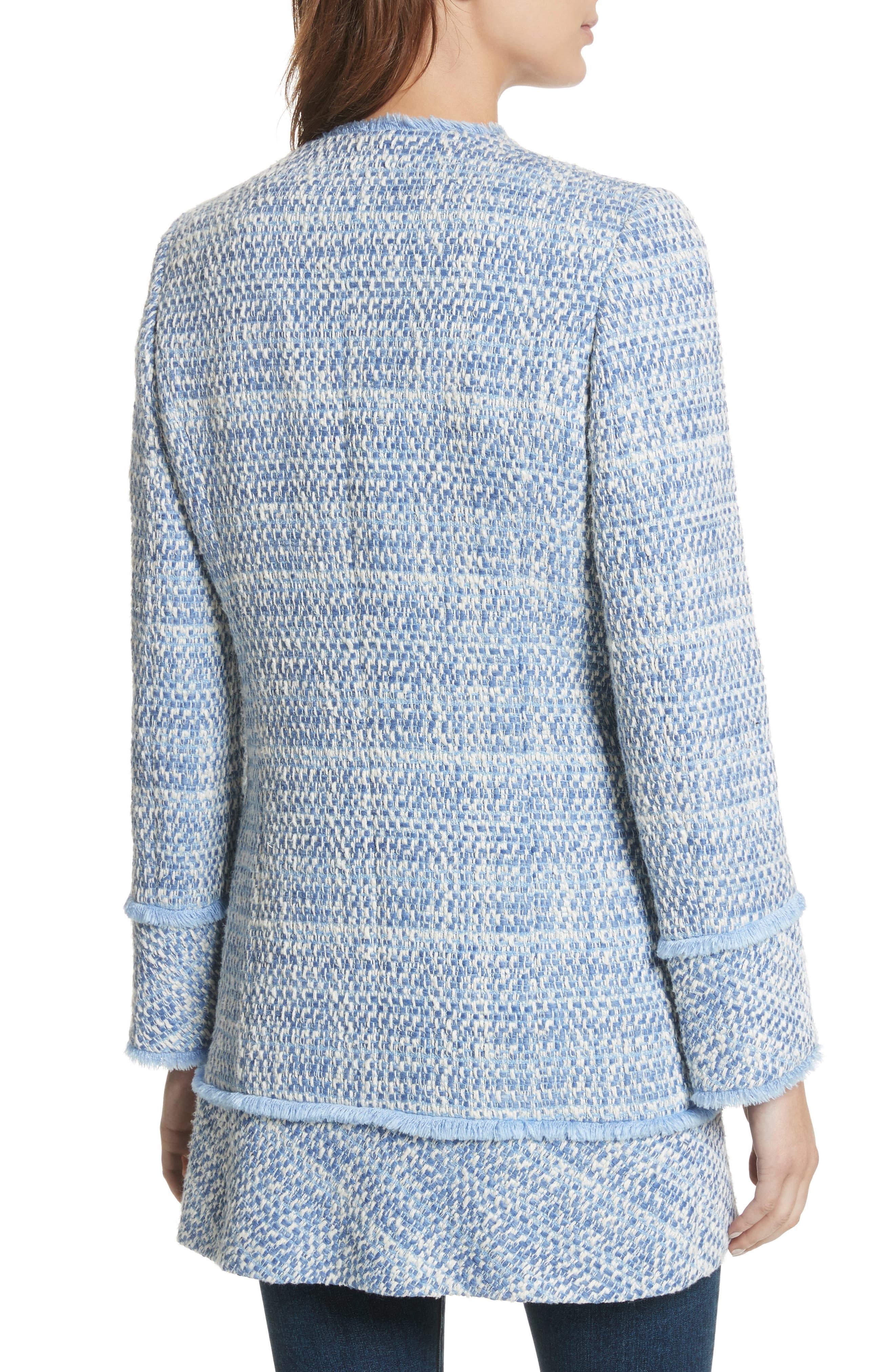 Long Tweed Jacket,                             Alternate thumbnail 2, color,                             Pale Blue
