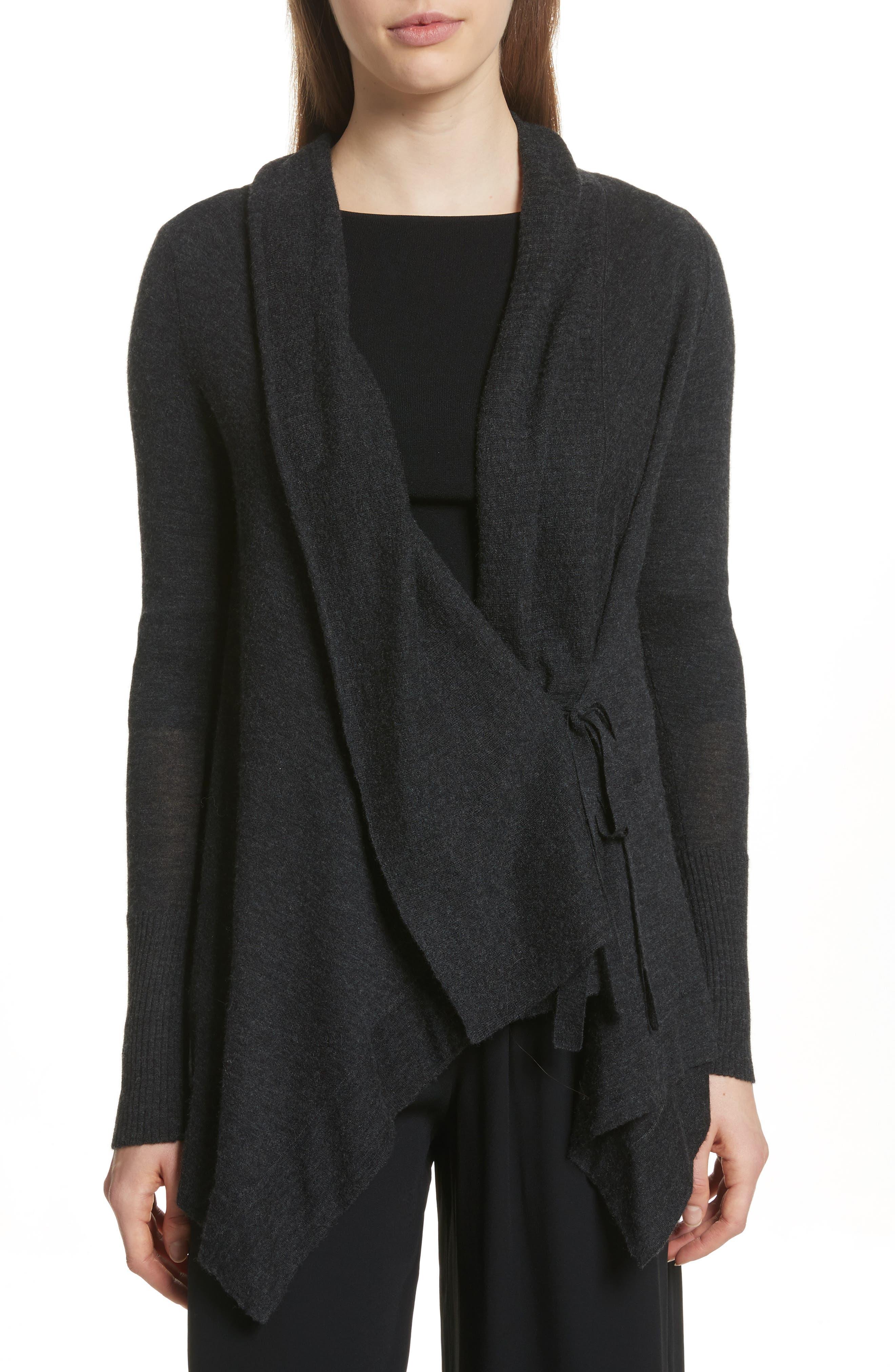 Drape Front Wool & Cashmere Cardigan,                             Main thumbnail 1, color,                             Charcoal