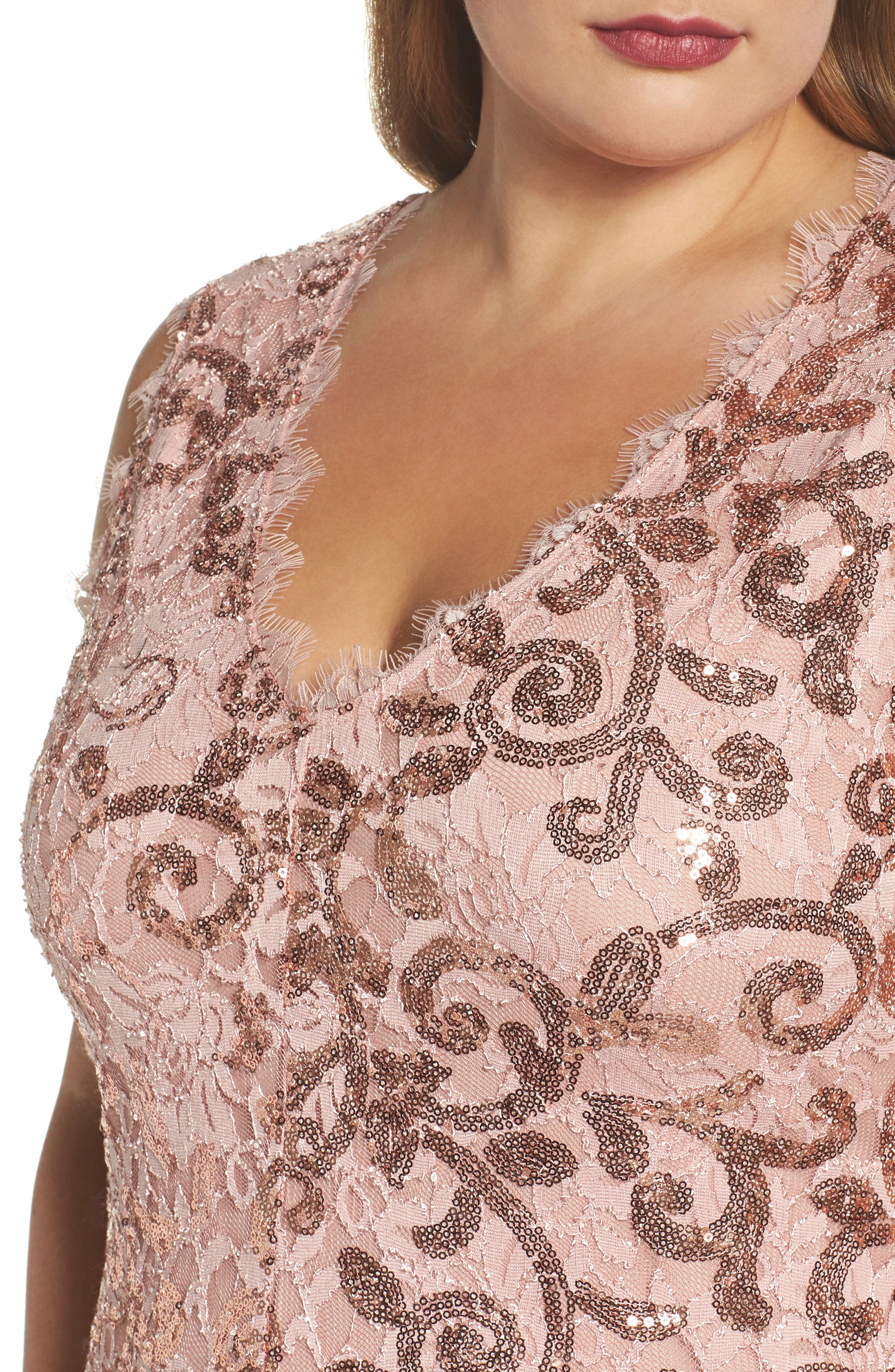 Alternate Image 4  - Marina Sequin Lace Party Dress (Plus Size)