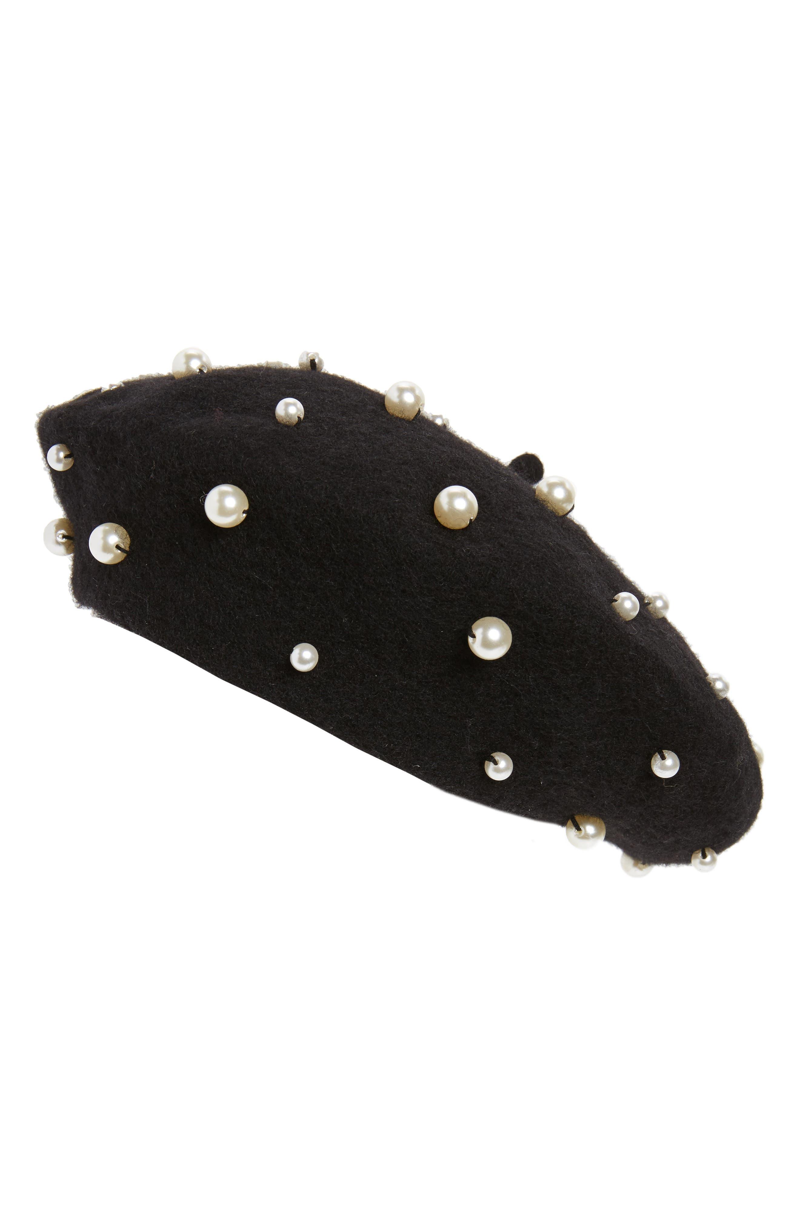 Imitation Pearl Wool Blend Beret,                         Main,                         color, Black Multi