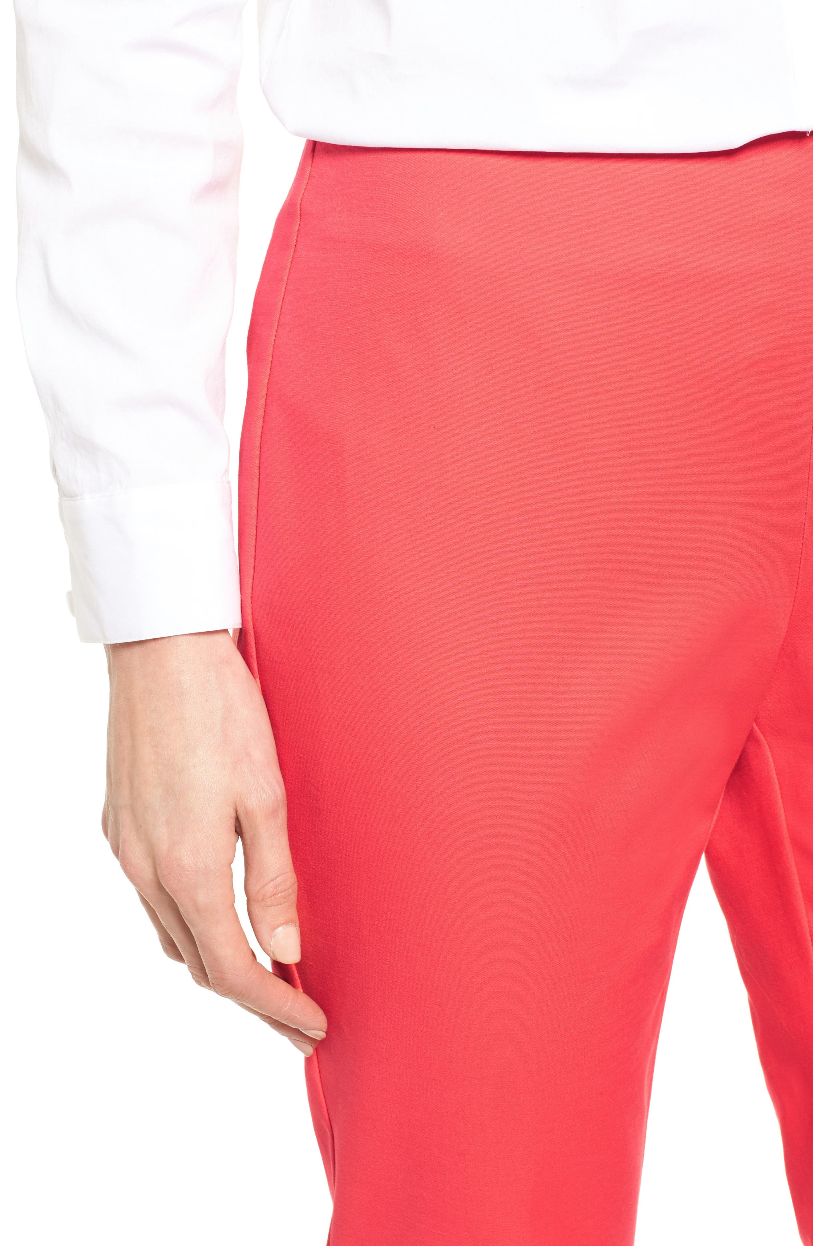 Stretch Cotton Skinny Pants,                             Alternate thumbnail 5, color,                             Melon