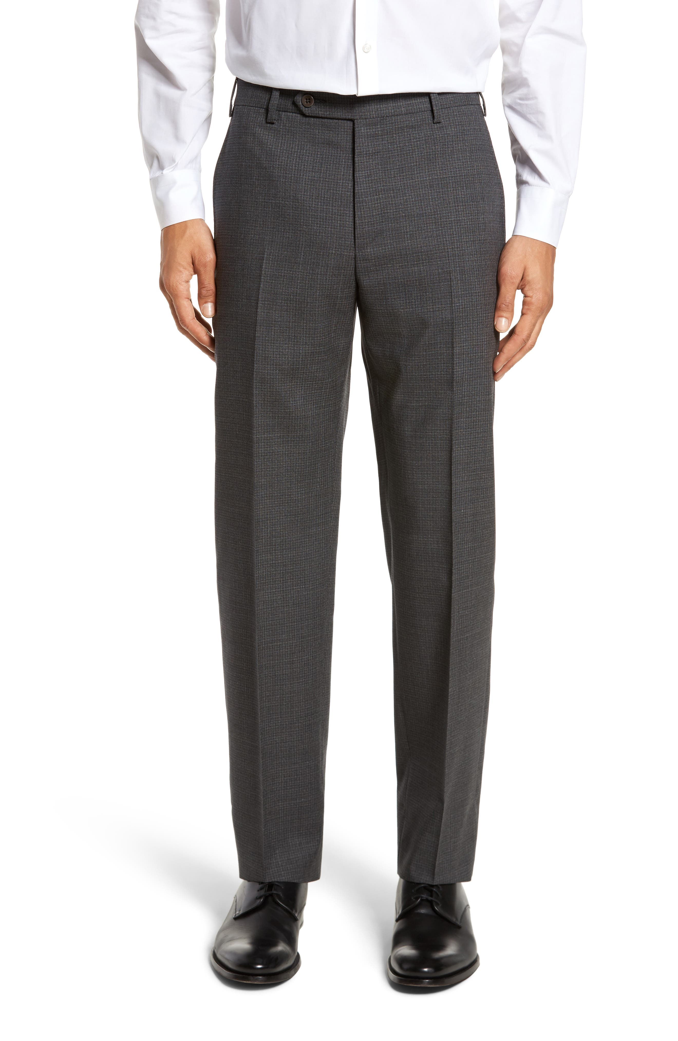 Devon Flat Front Check Wool Trousers,                             Main thumbnail 1, color,                             Dark Grey