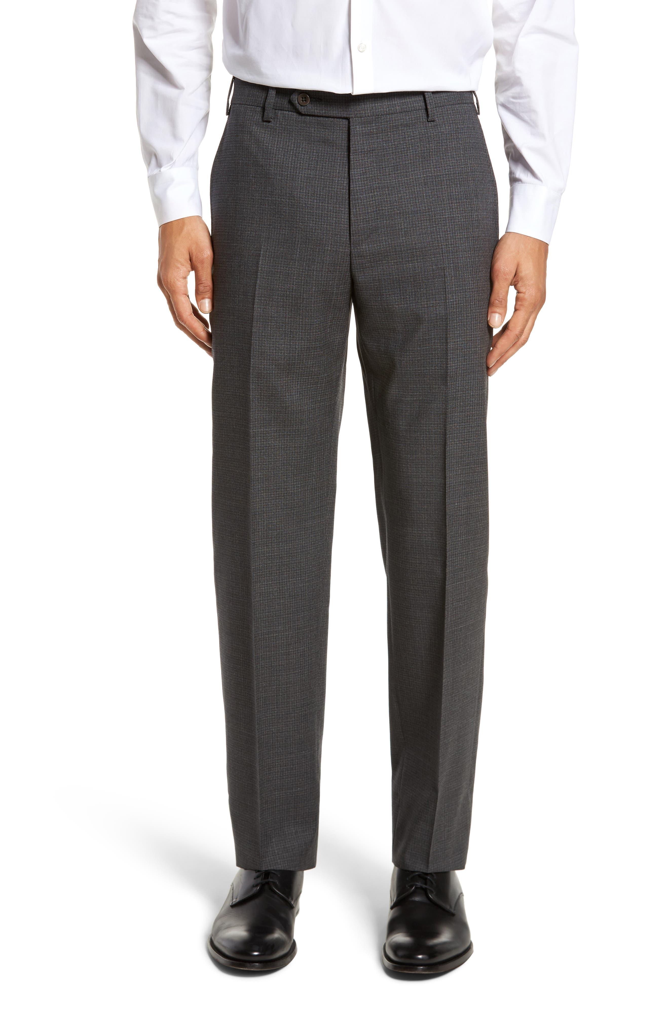 Main Image - Zanella Devon Flat Front Check Wool Trousers