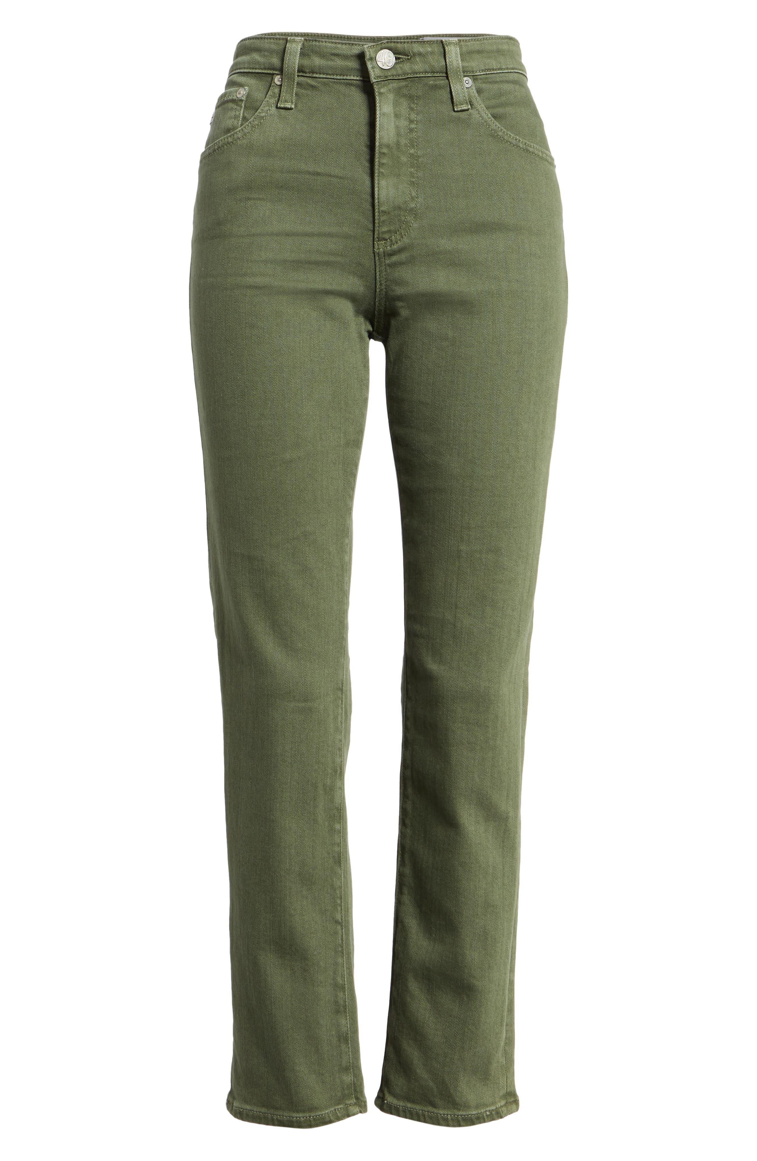 The Isabelle High Waist Crop Straight Leg Jeans,                             Alternate thumbnail 7, color,                             1 Year Sulfur Desert Pine