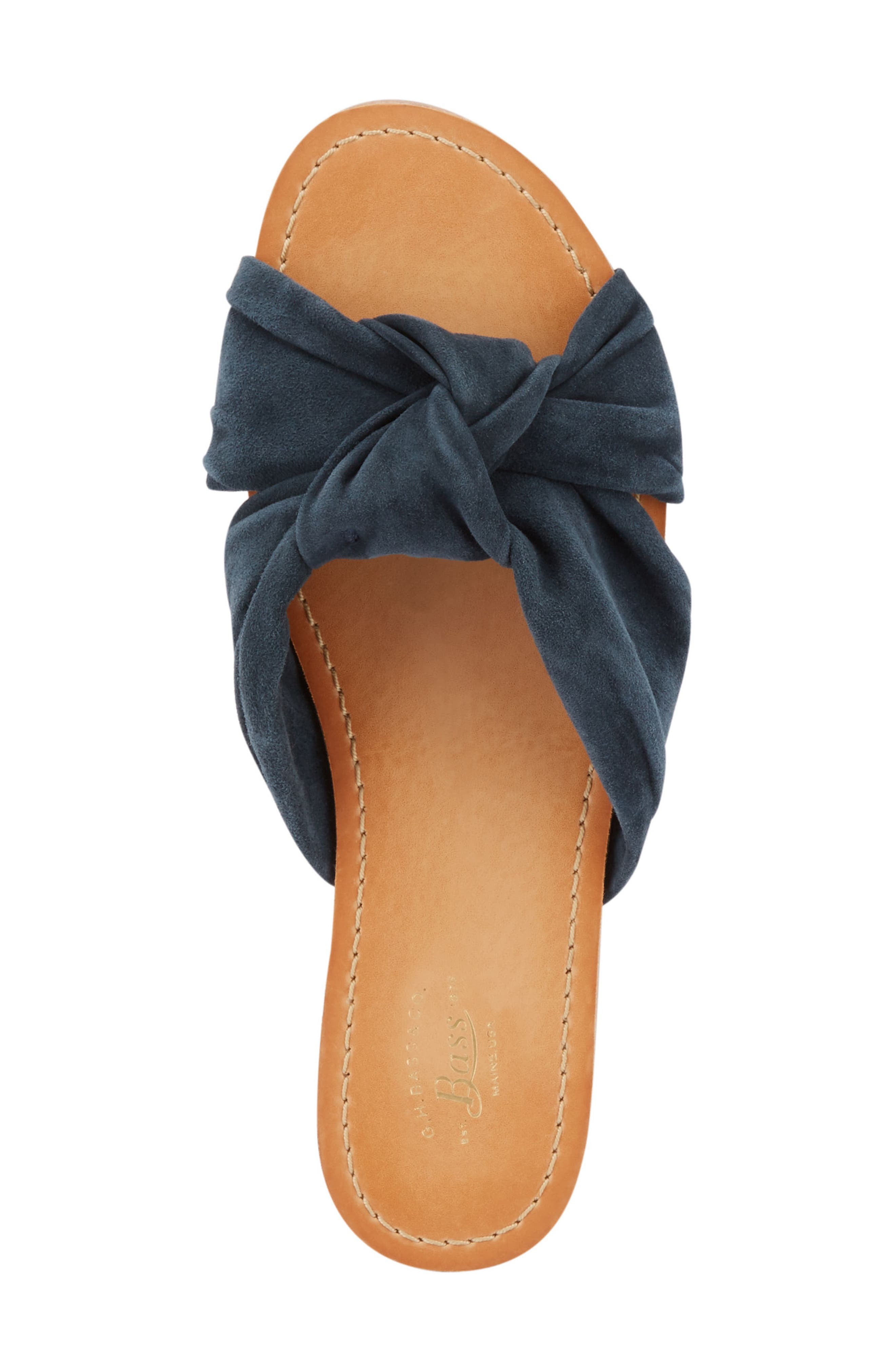 Sophie Knotted Bow Sandal,                             Alternate thumbnail 5, color,                             Navy Suede