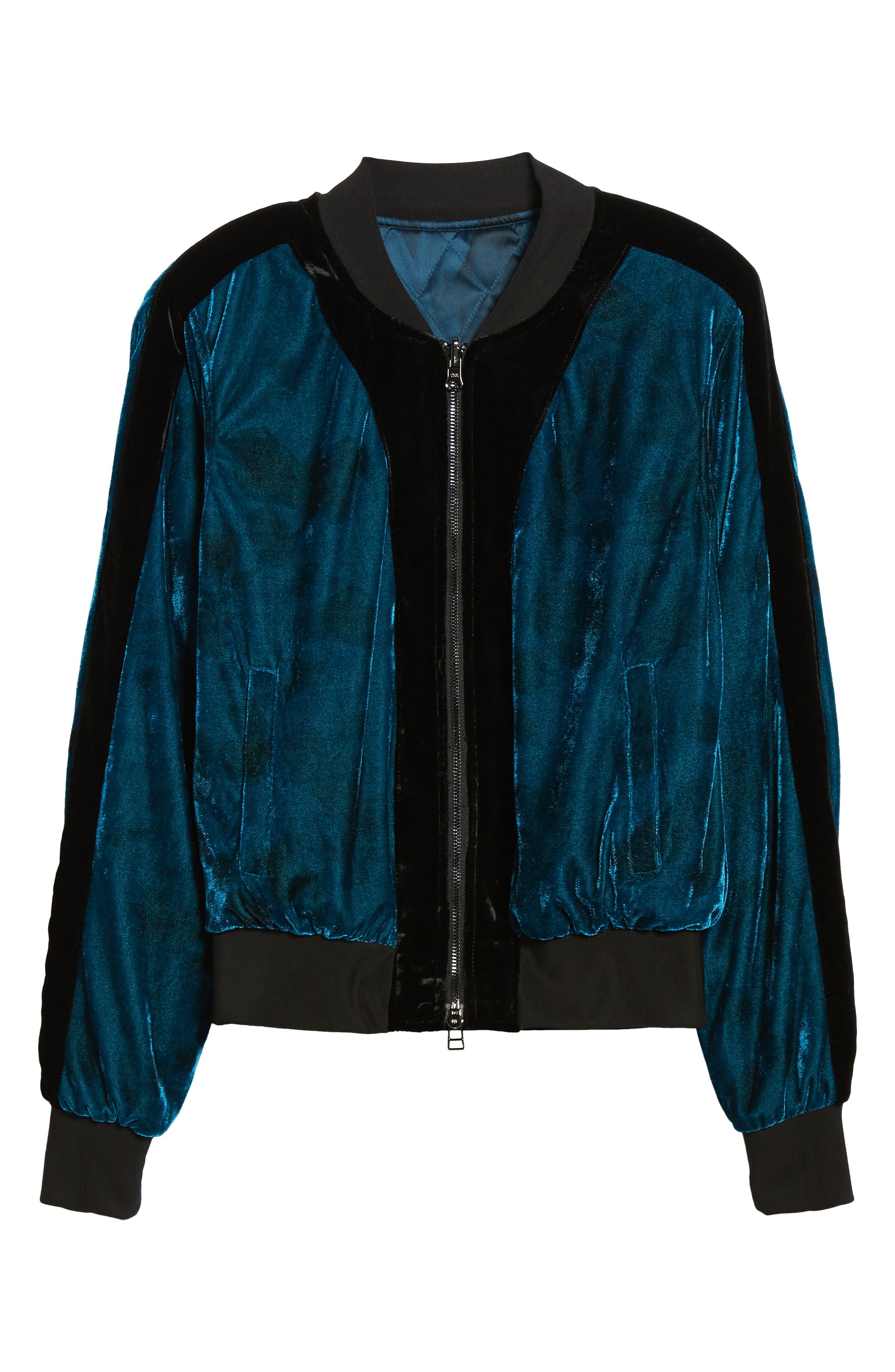 Reversible Baseball Jacket,                             Alternate thumbnail 6, color,                             Sapphire