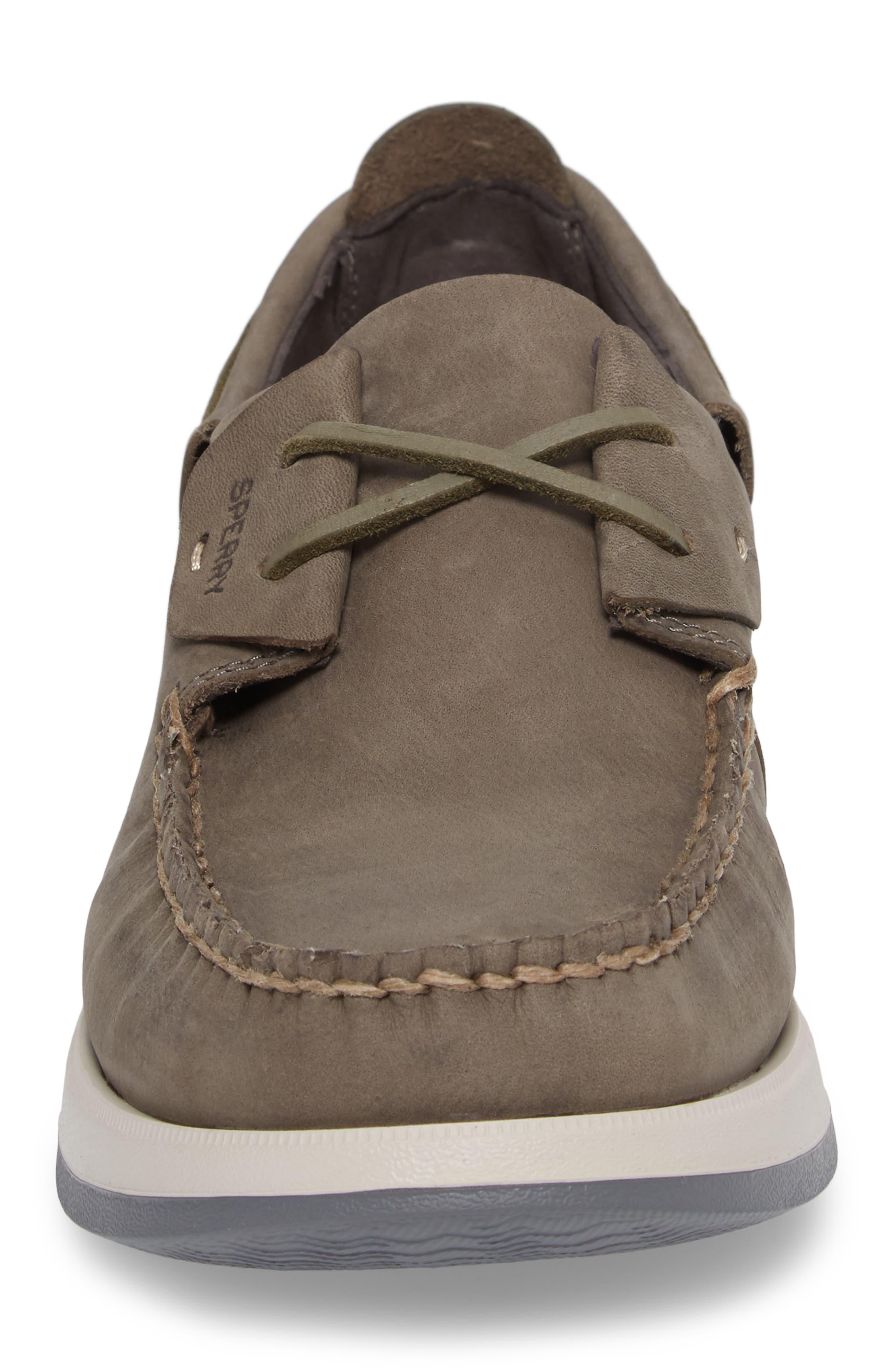 Caspian Boat Shoe,                             Alternate thumbnail 4, color,                             Grey Leather
