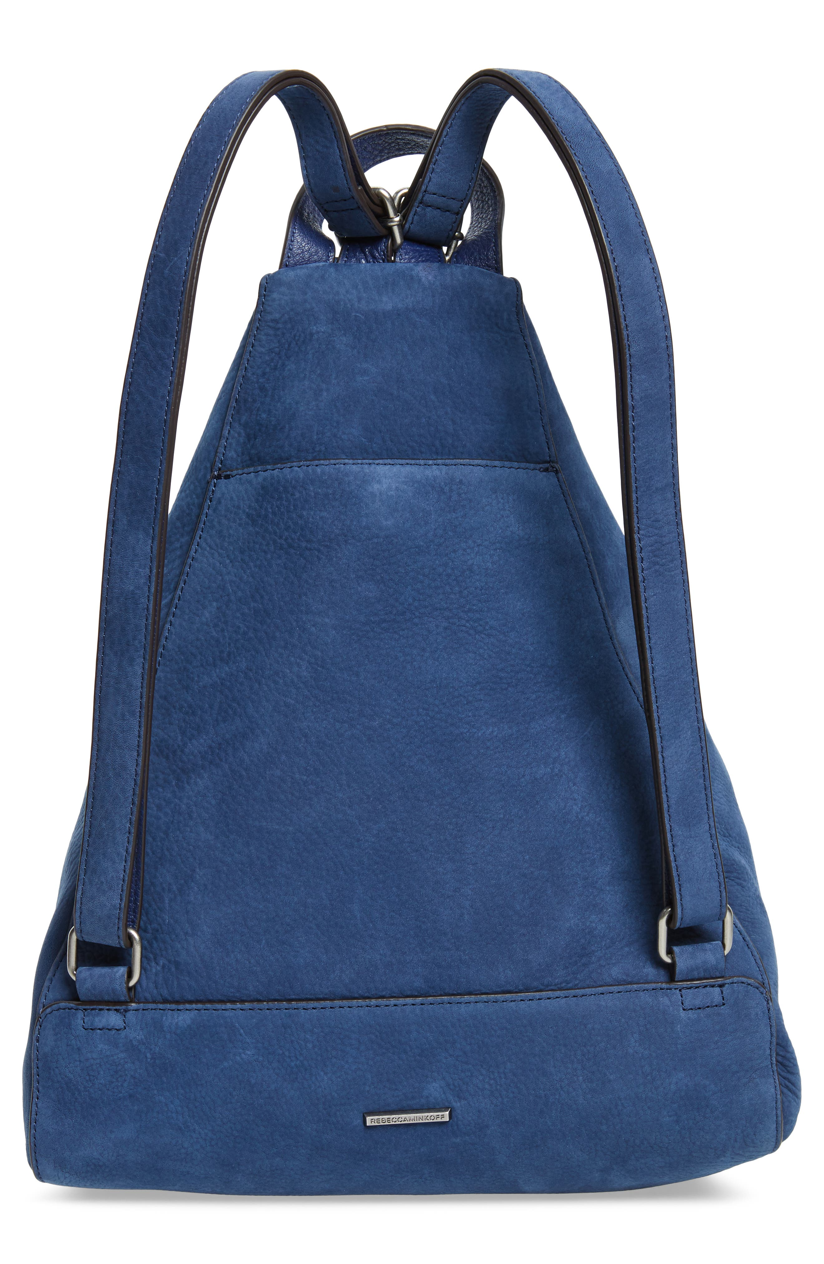 Jamie Nubuck Leather Backpack,                             Alternate thumbnail 3, color,                             True Navy