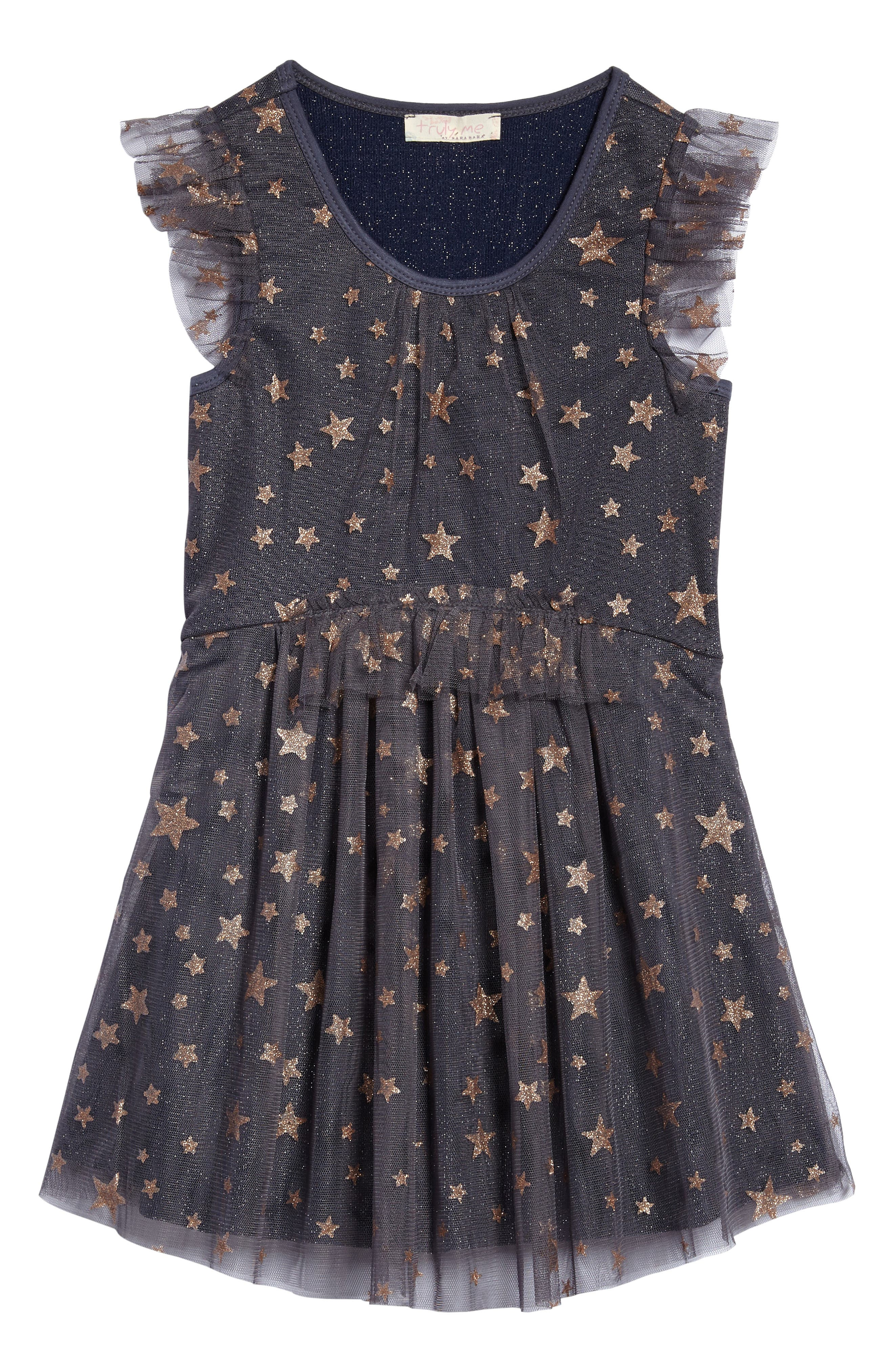 Mesh Star Dress,                             Main thumbnail 1, color,                             Char/ Gold