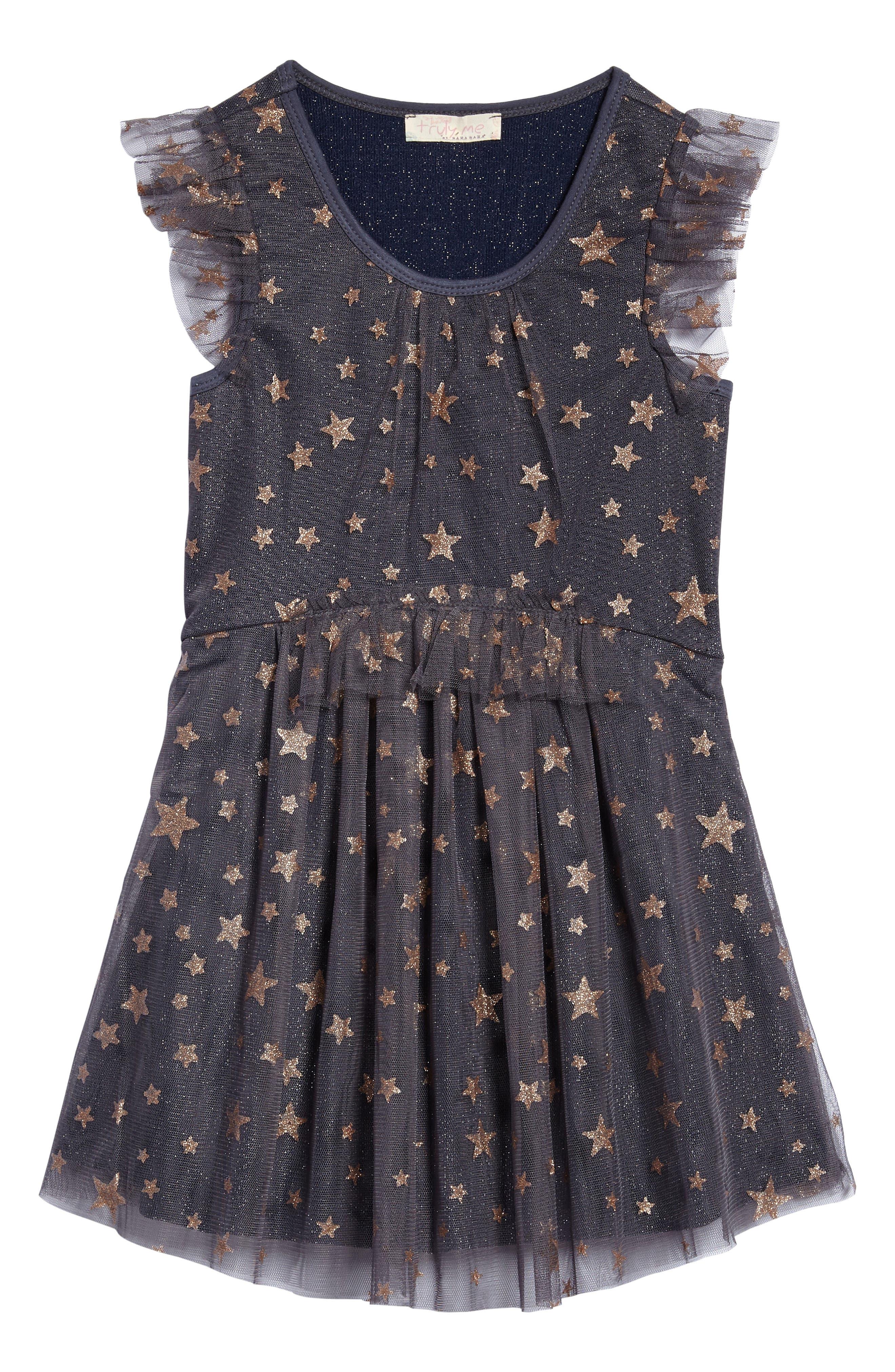 Mesh Star Dress,                         Main,                         color, Char/ Gold
