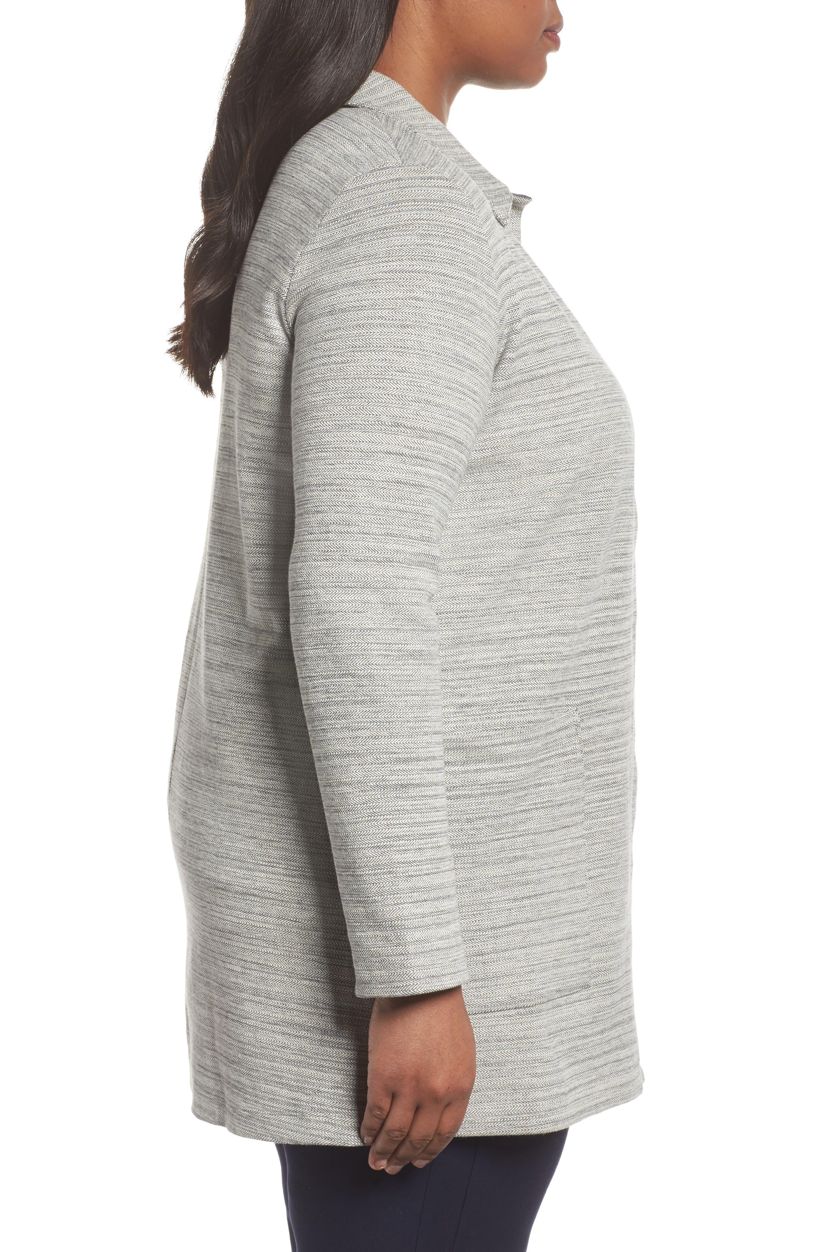 Cotton Blend Tweed Jacket,                             Alternate thumbnail 3, color,                             Dark Pearl