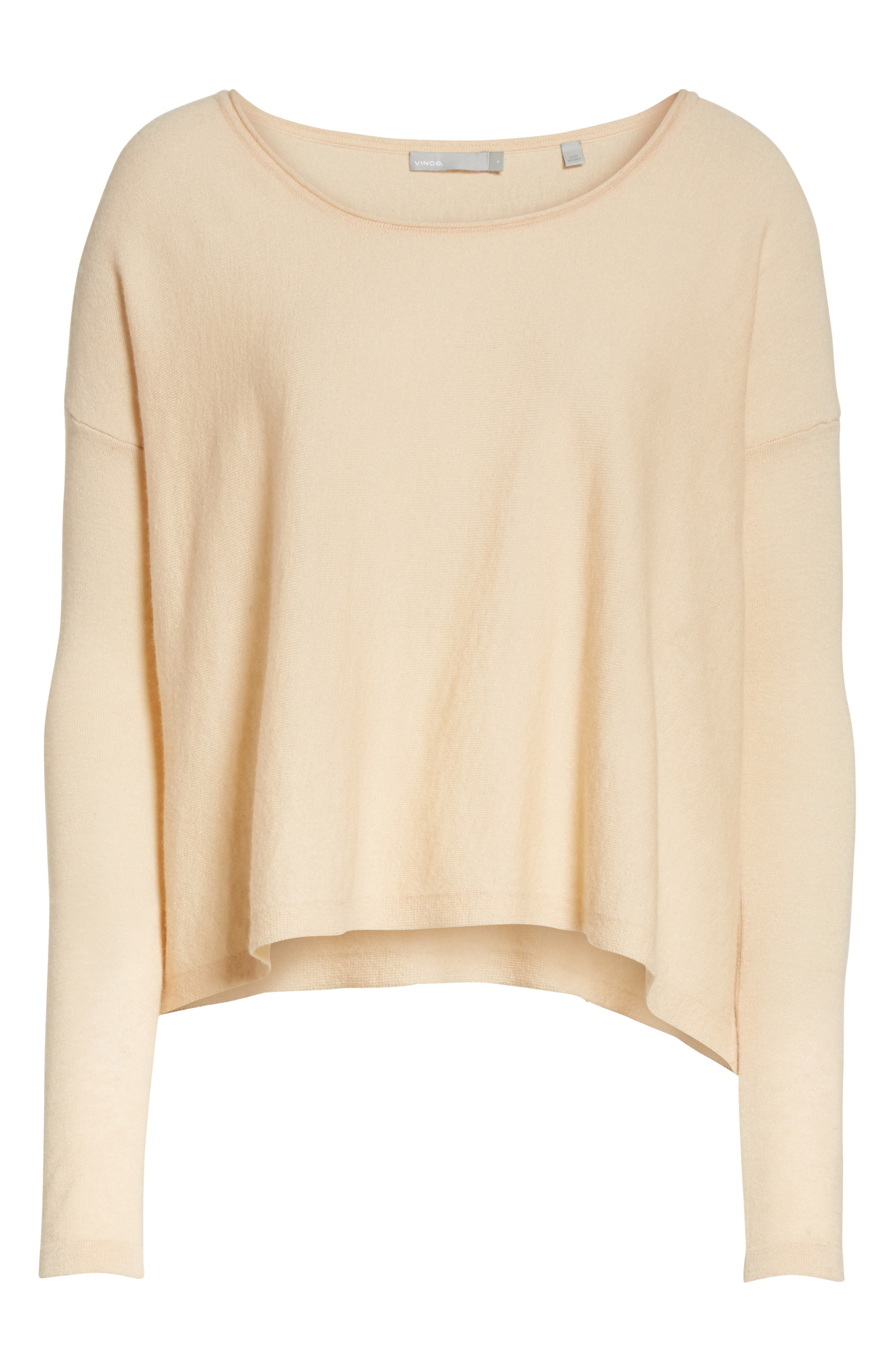 Cinched Back Cashmere Sweater,                             Alternate thumbnail 6, color,                             Praline