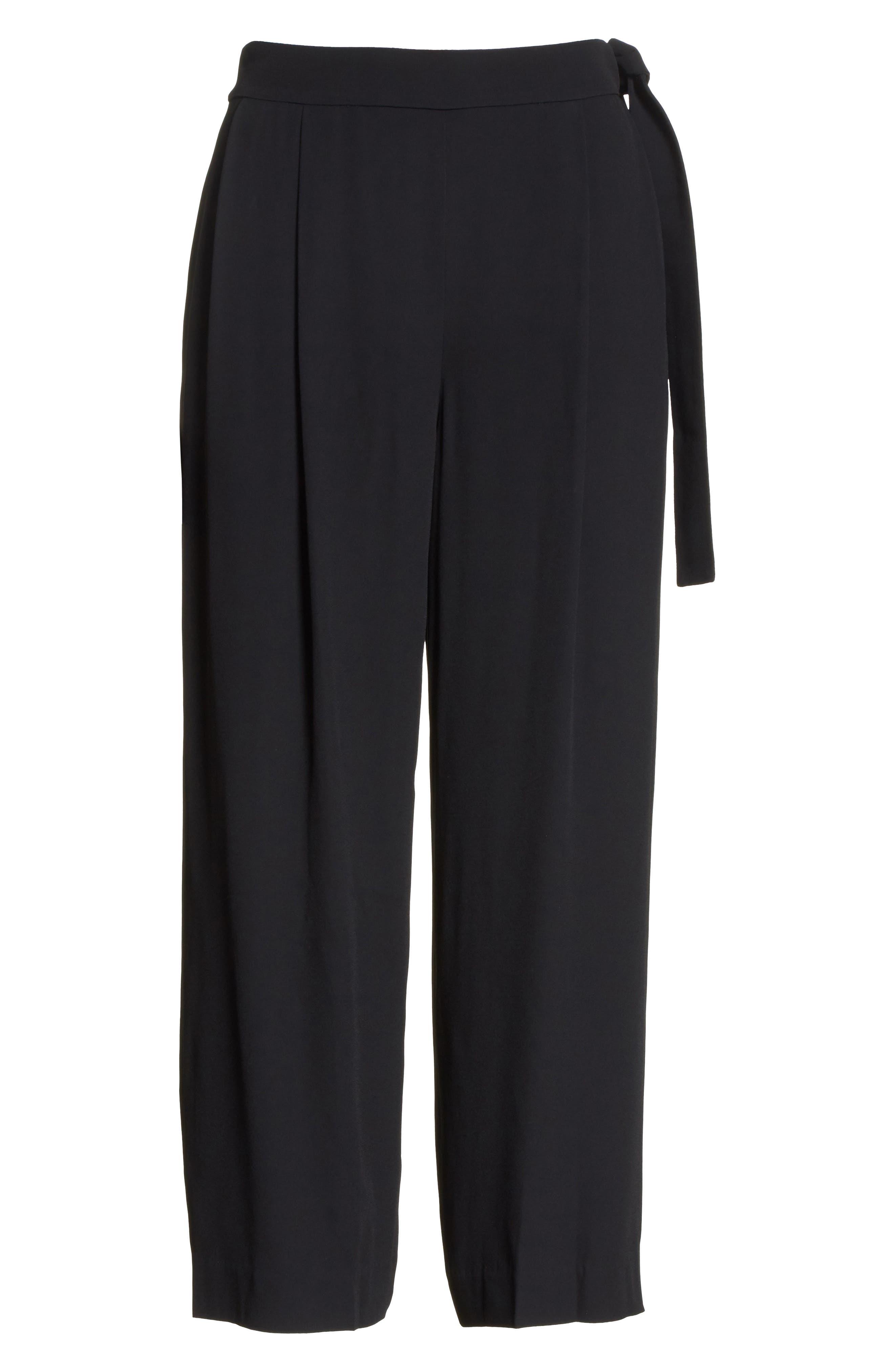 Belted Culottes,                             Alternate thumbnail 6, color,                             Black
