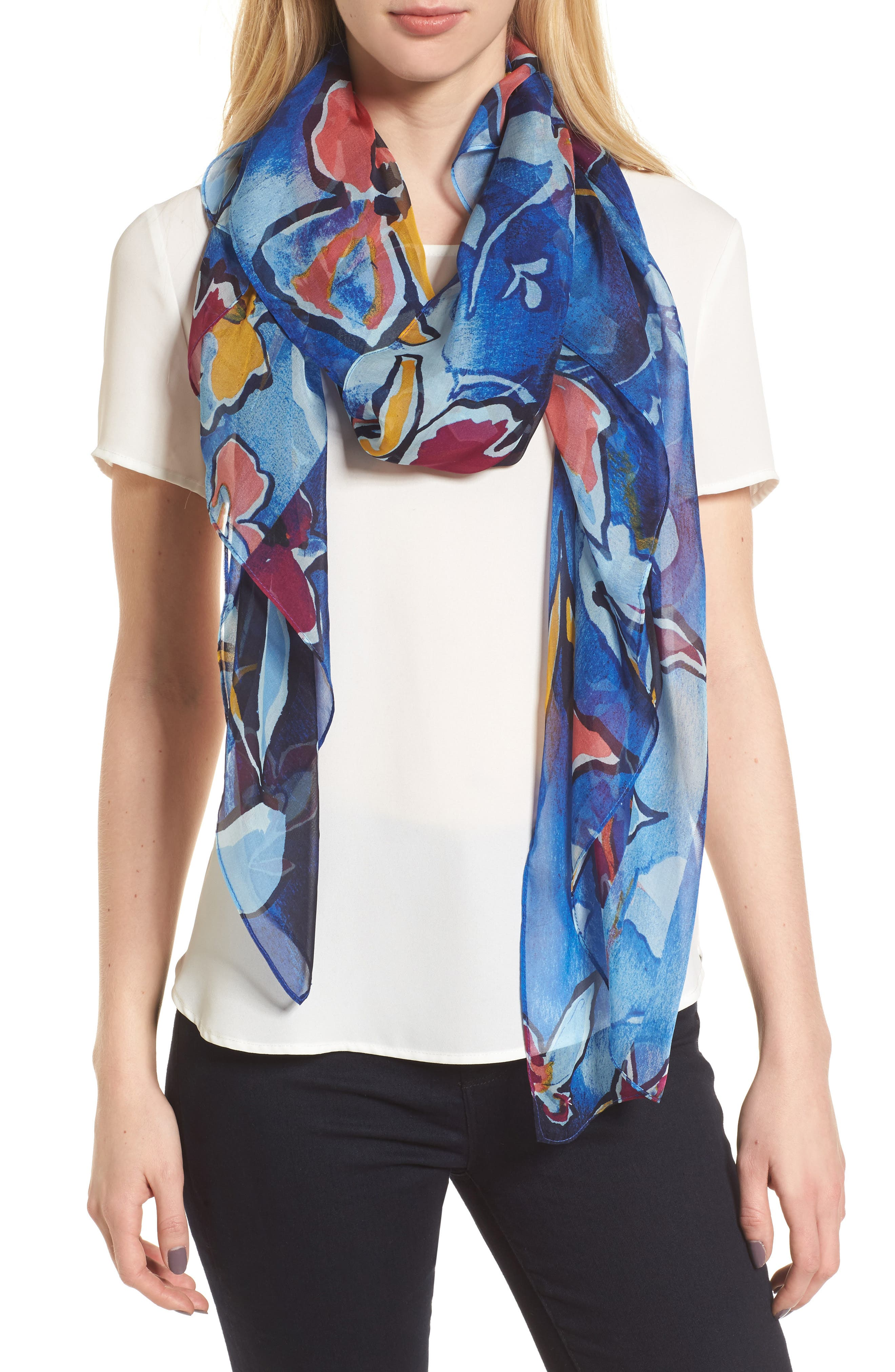 Silk Chiffon Oblong Scarf,                         Main,                         color, Blue Textured Blooms