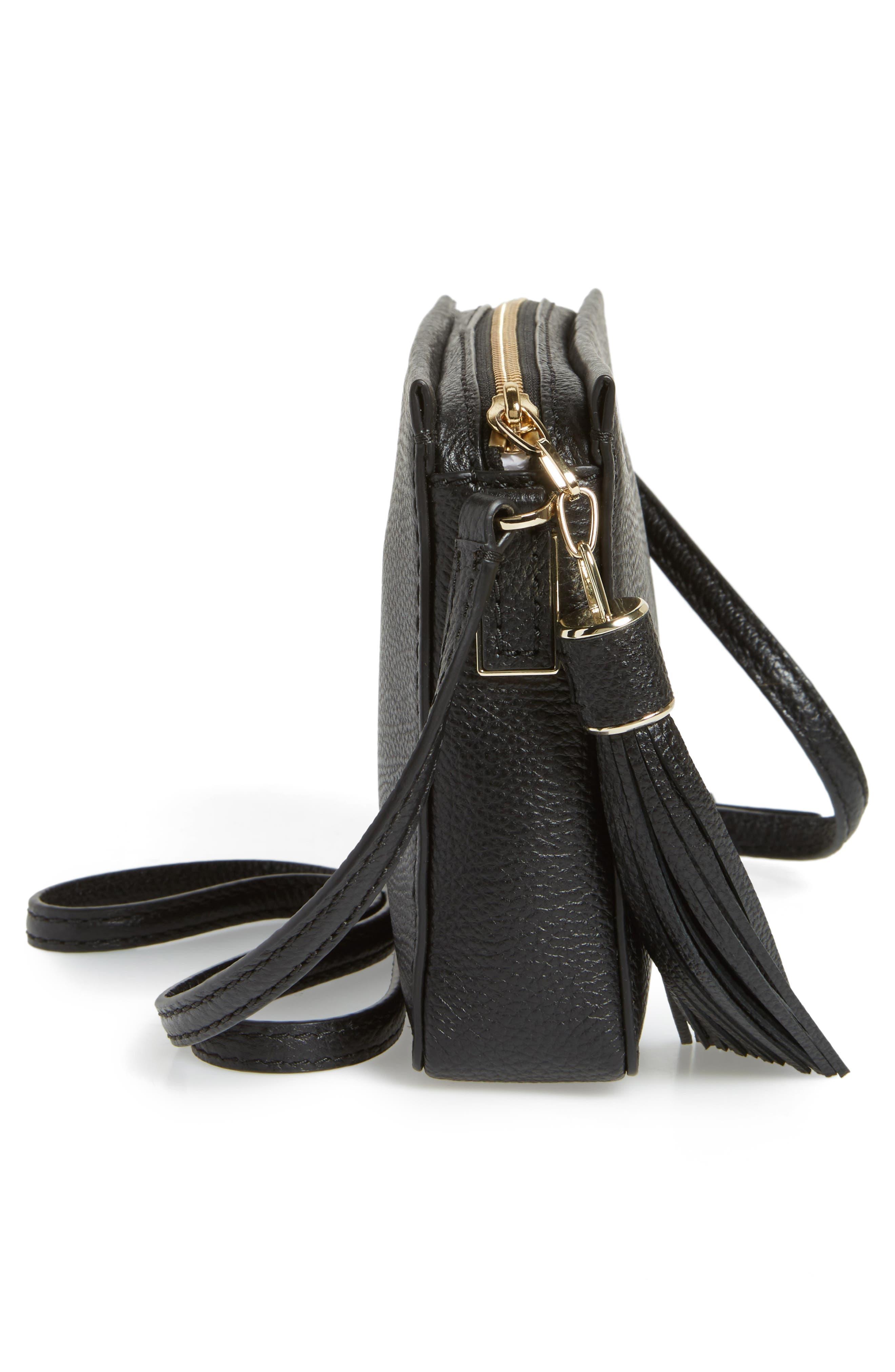 kingston drive - gillian leather crossbody bag,                             Alternate thumbnail 5, color,                             Black