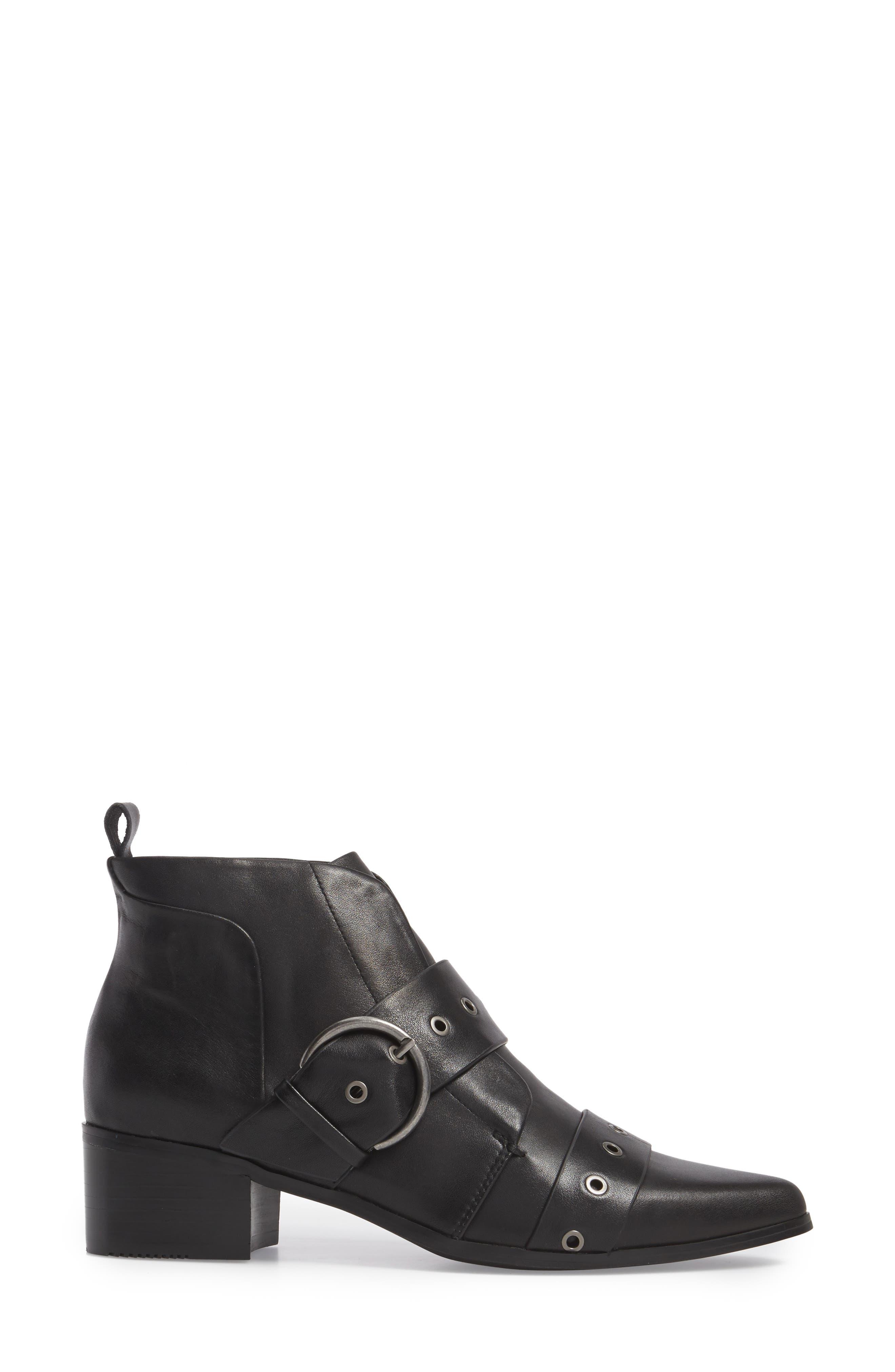 Buckle Strap Bootie,                             Alternate thumbnail 3, color,                             Black Leather