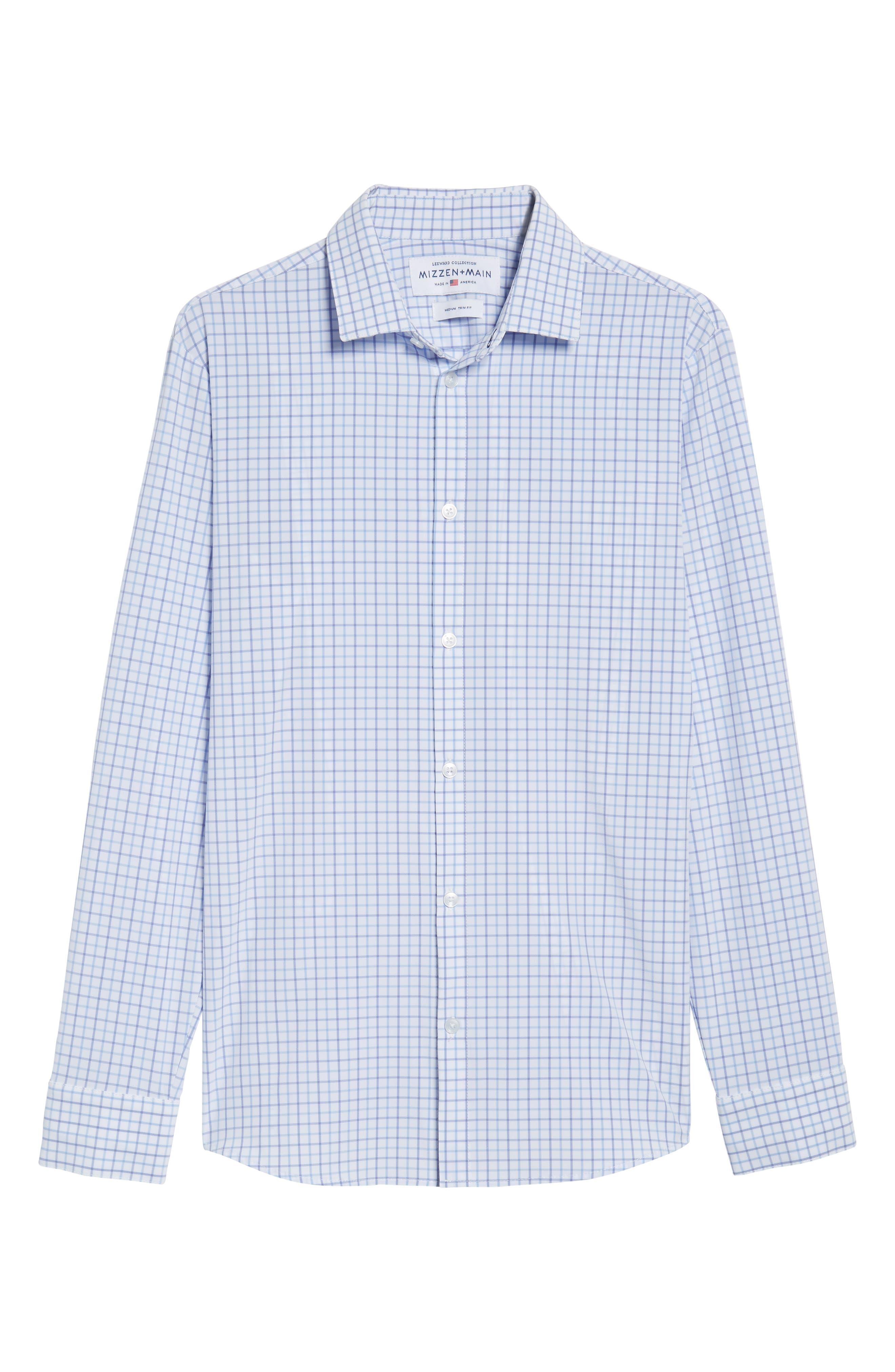 Hallandale Dusty Lavender Check Sport Shirt,                             Alternate thumbnail 6, color,                             White